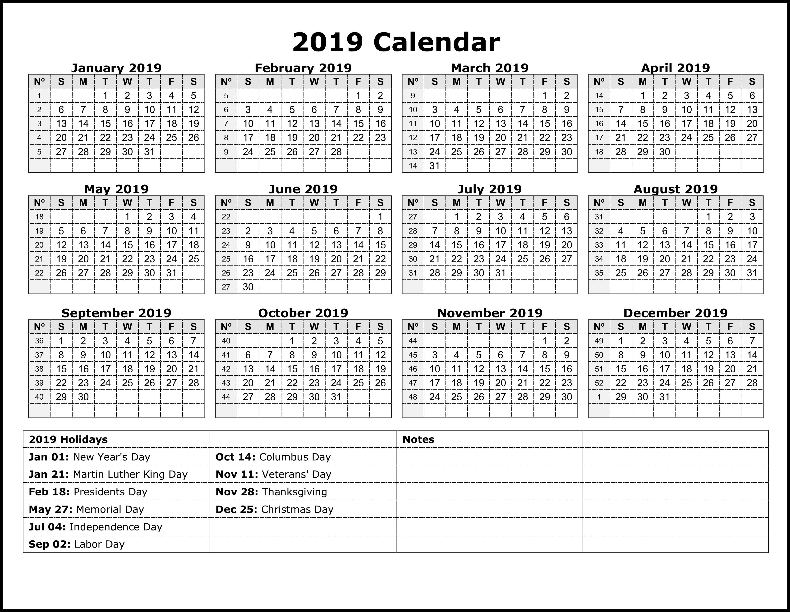 National Holiday Calendar 2019 #calendar2019 #printablecalendar Calendar 2019 With All Holidays