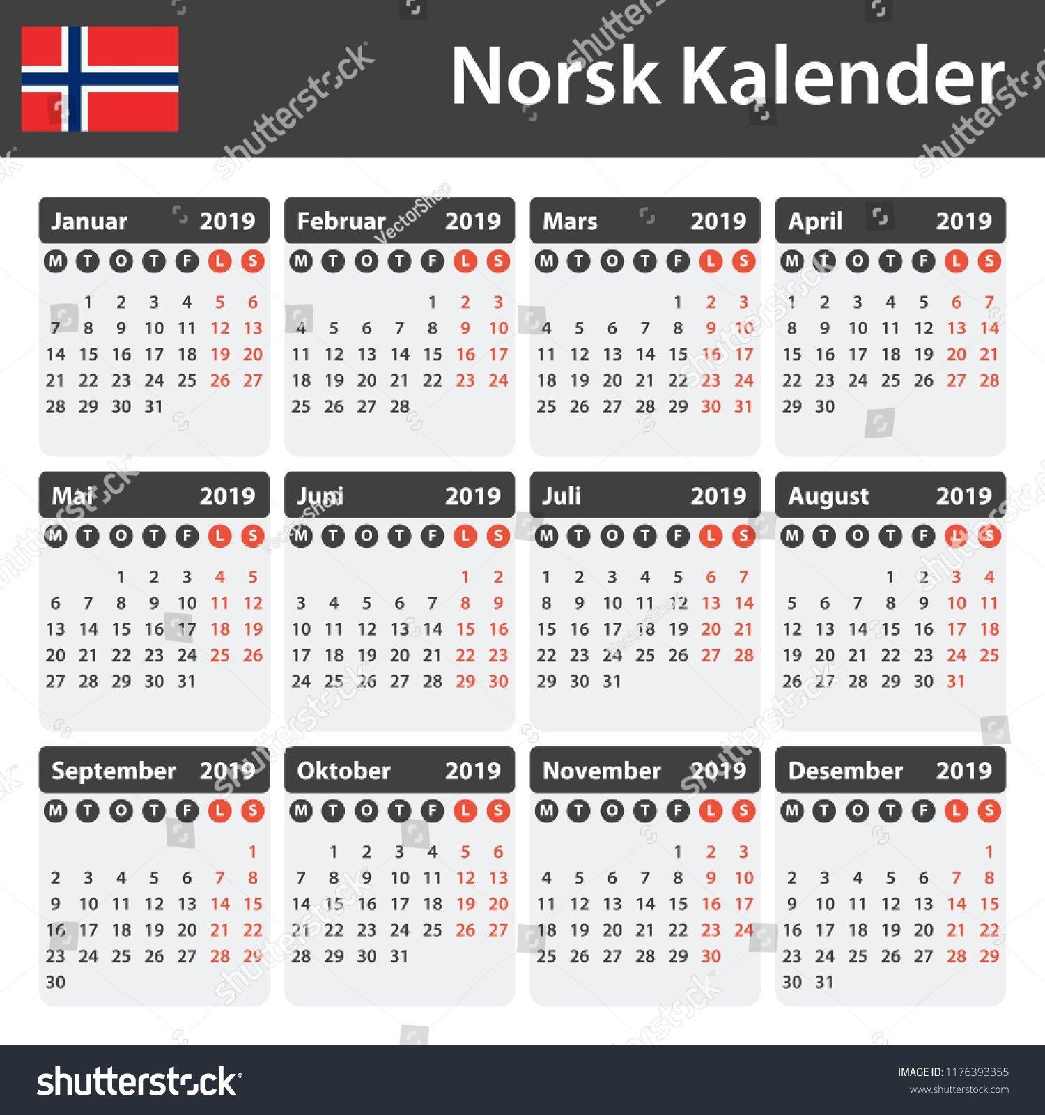 Norwegian Calendar 2019 Scheduler Agenda Diary Stock Vector (Royalty C&k Calendar 2019