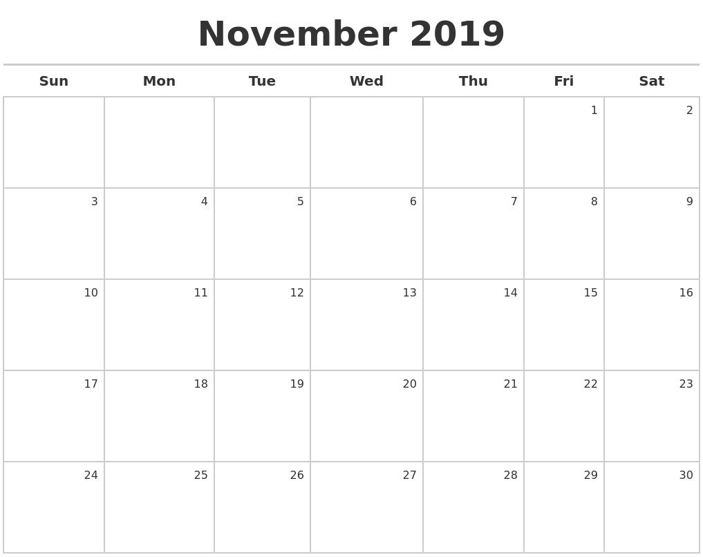 November 2019 Calendar Maker Calendar 2019 Nov