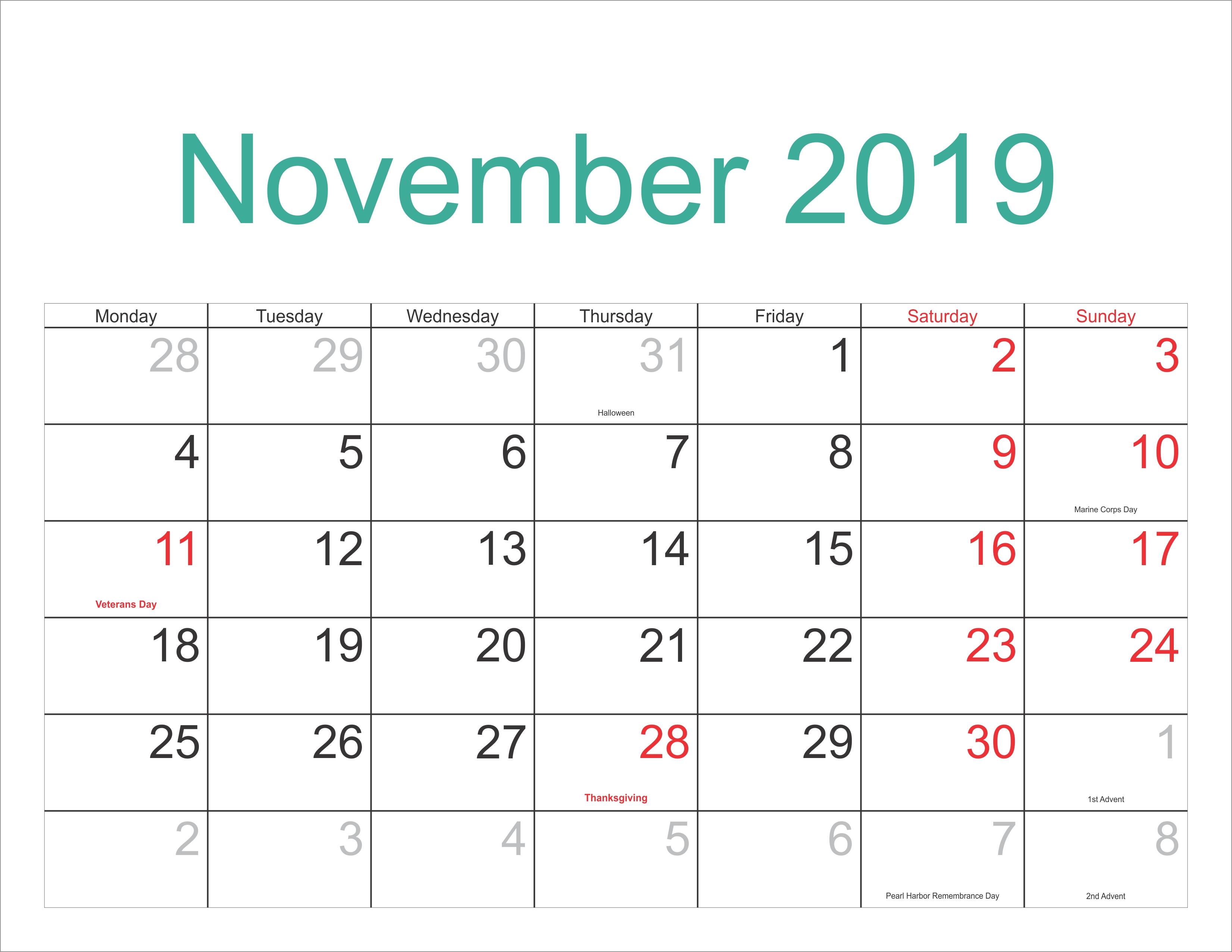 November 2019 Excel Calendar – Free November 2018 Calendar Calendar 2019 For Excel