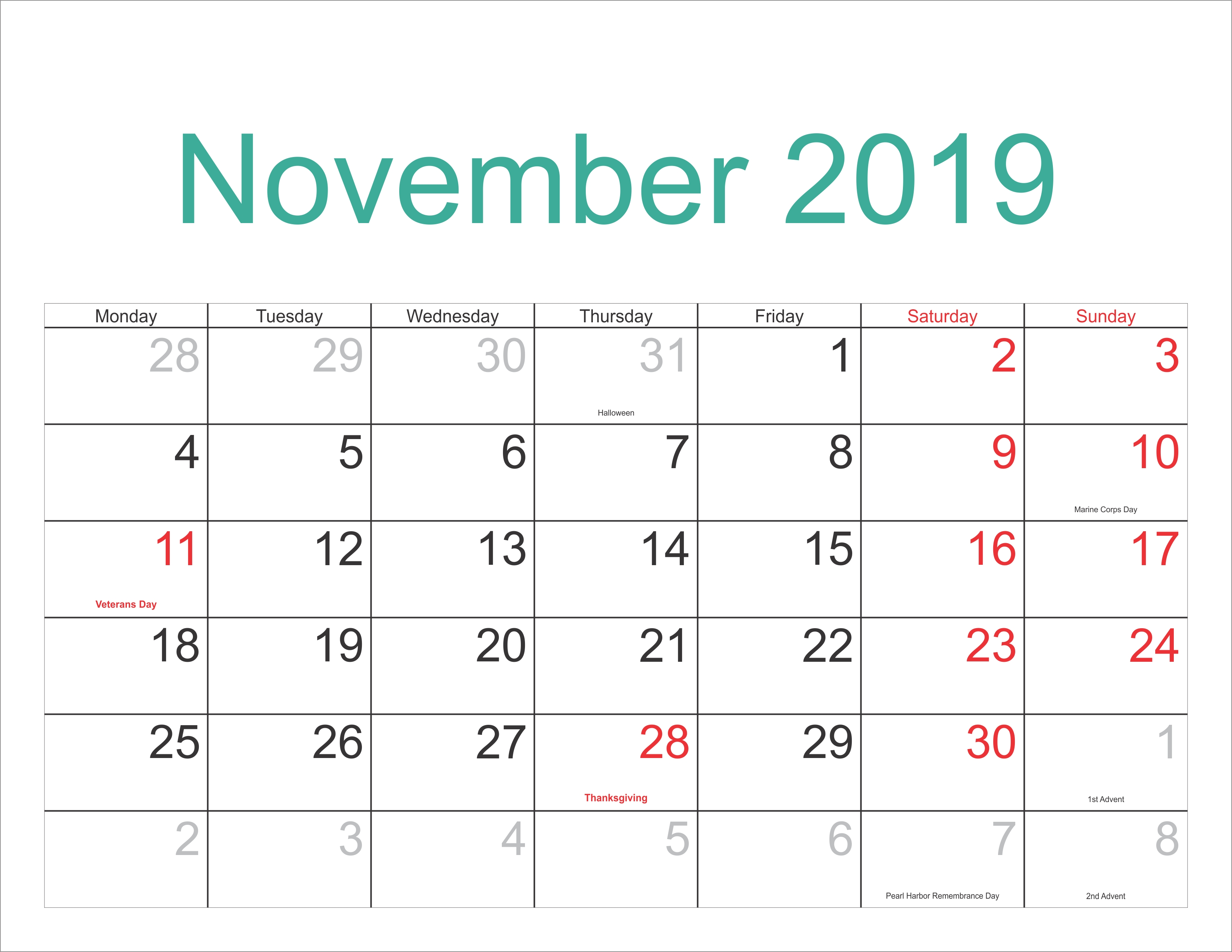 November 2019 Excel Calendar – Free November 2018 Calendar Calendar 2019 Purchase