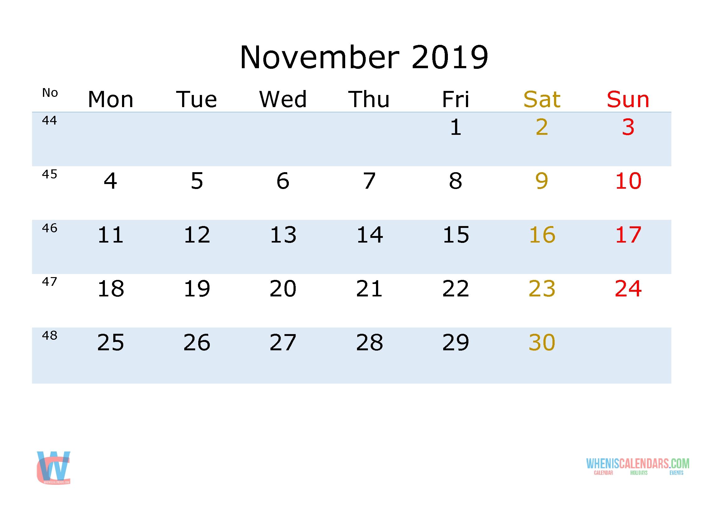 November 2019 Printable Monthly Calendar With Week Numbers [Monday Calendar Week 46 2019
