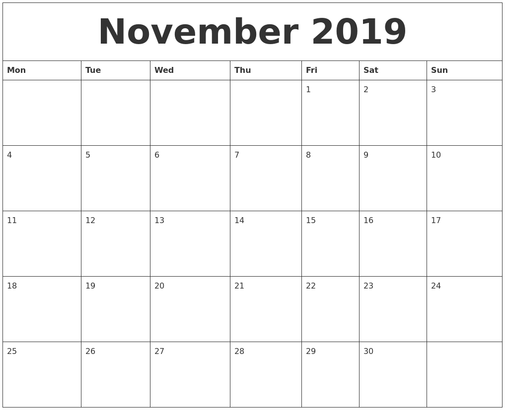 November 2019 Word Calendar Calendar 2019 November December