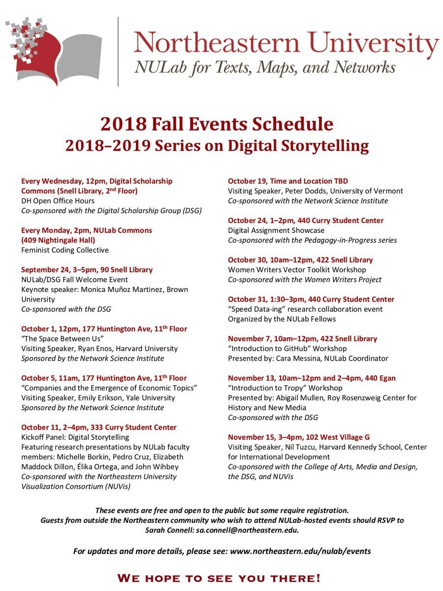 """Nulab On Twitter: """"the Nulab Fall Calendar Of Events Is Up! This Calendar 2019 Northeastern"""
