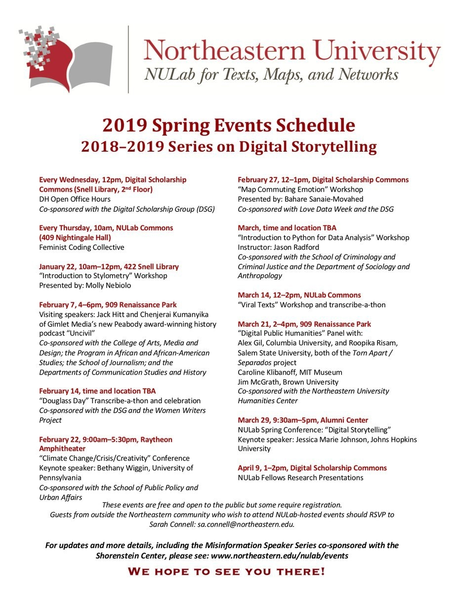 """Nulab On Twitter: """"we Are Delighted To Share The Nulab Spring 2019 Calendar 2019 Northeastern"""