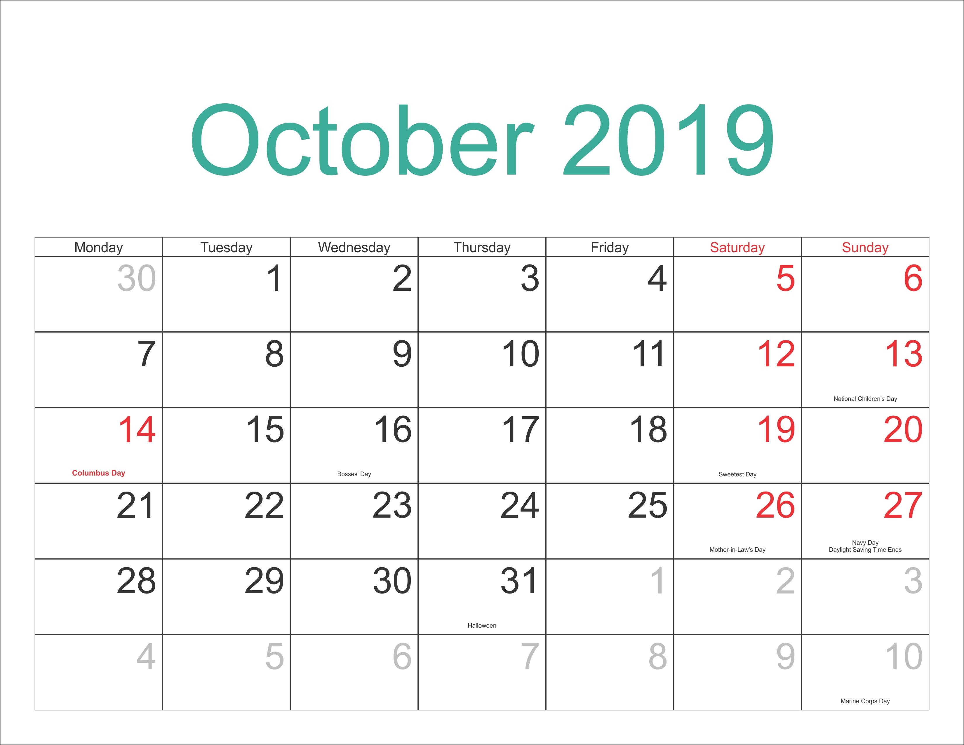 October 2018 Printable Calendar – October 2018 Calendar Template Calendar 2019 Schedule