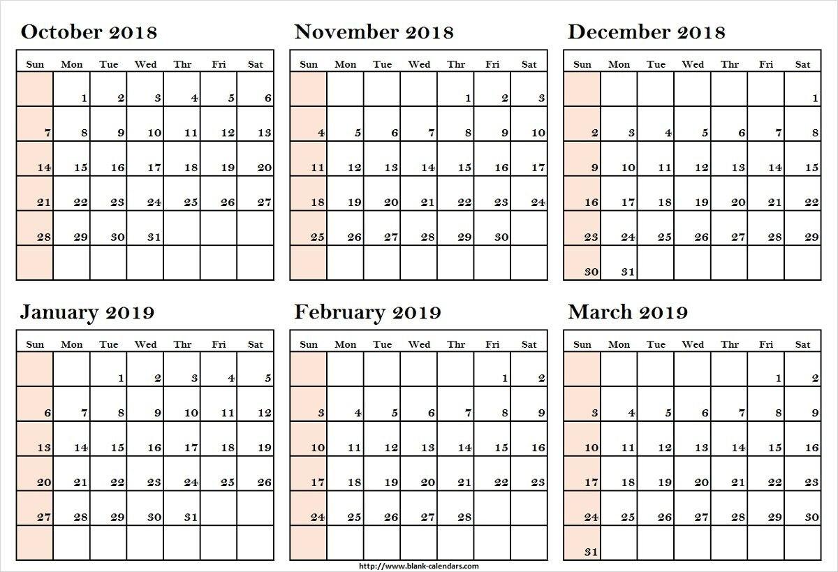 October 2018 To March 2019 Calendar Printableoctober 2018 To March March 6 2019 Calendar