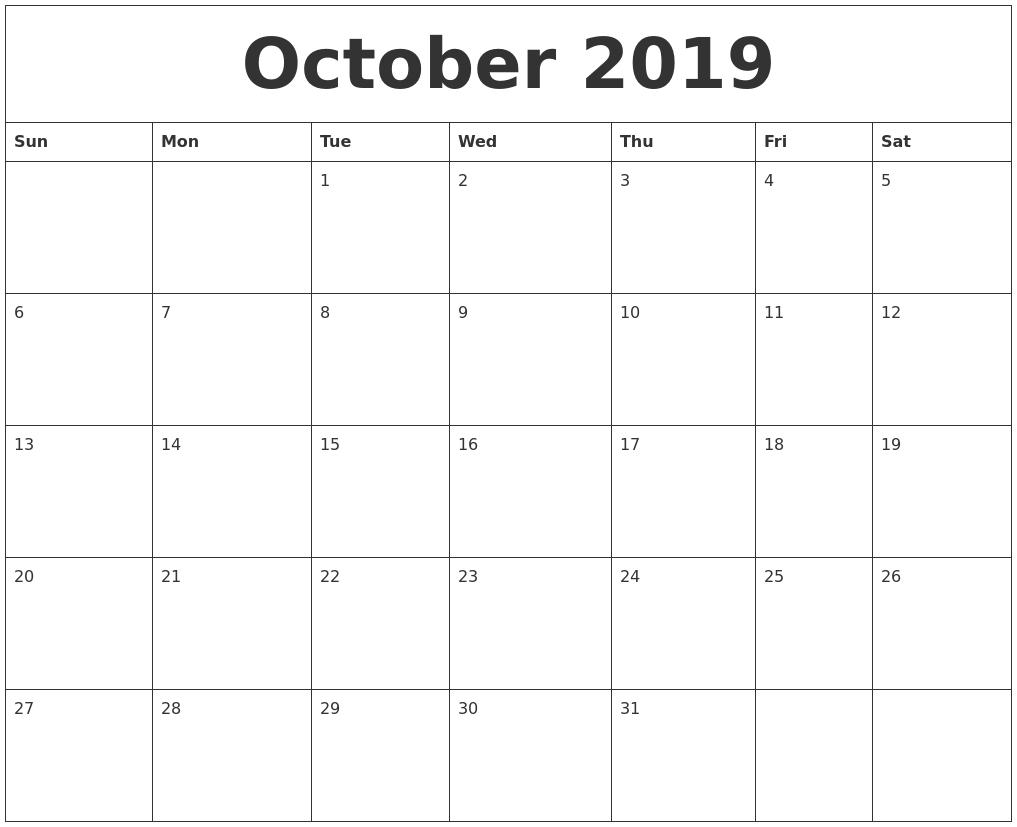 October 2019 Calendar Calendar 2019 Oct