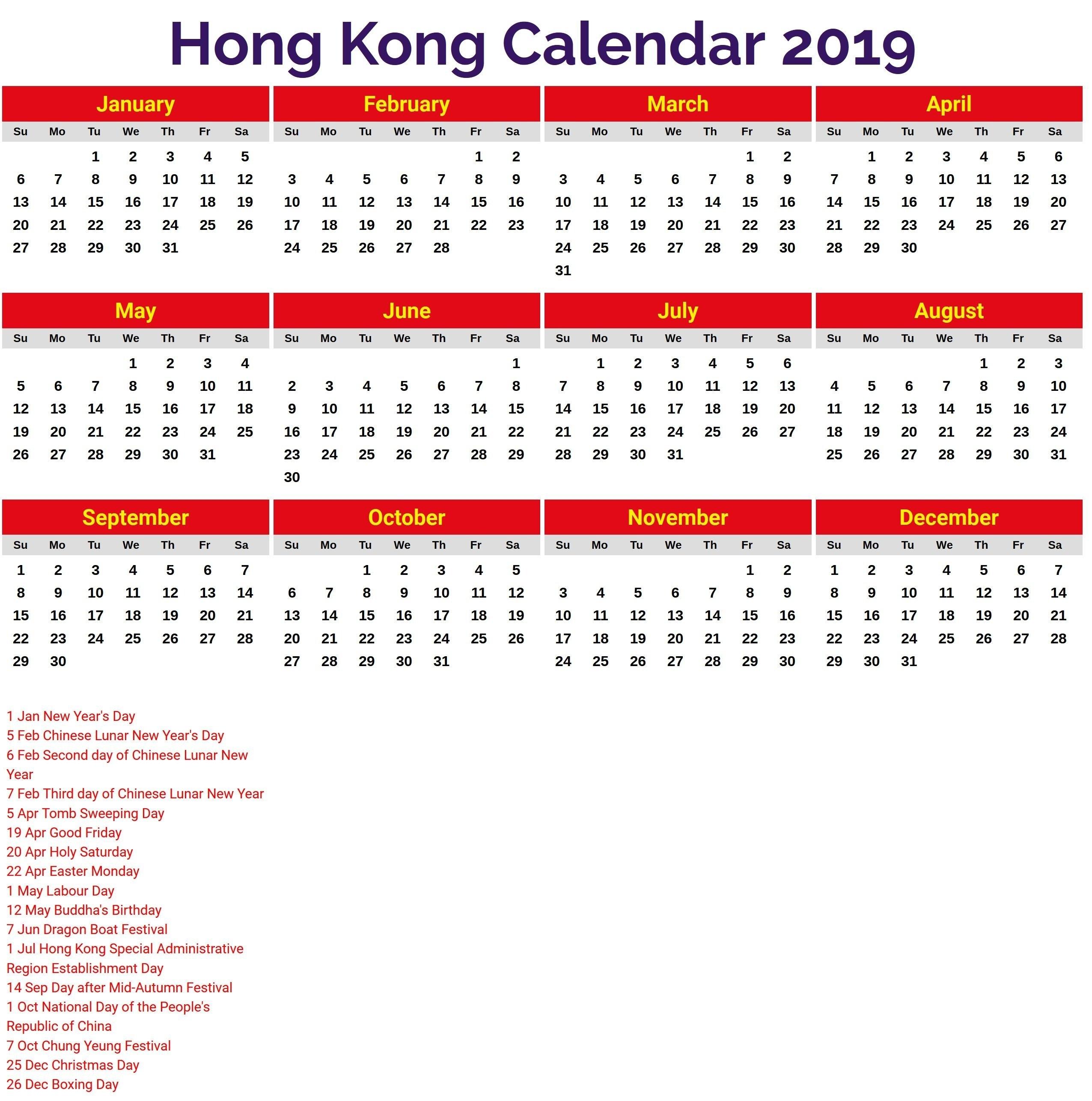 October 2019 Calendar Hong Kong | Calendar Template Etknlik Calendar 2019 Hong Kong