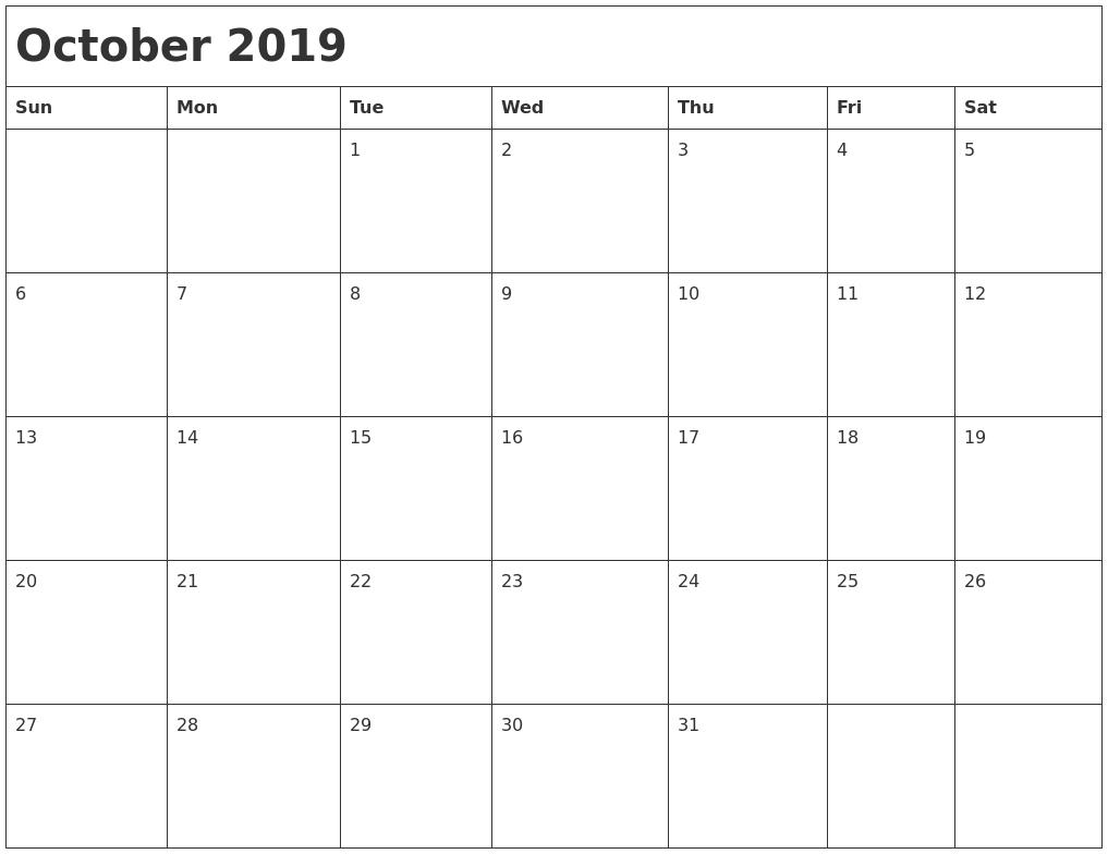 October 2019 Month Calendar Calendar Zoom 2019