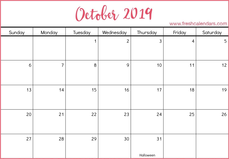 October 2019 Printable Calendars – Fresh Calendars Calendar 2019 Oct
