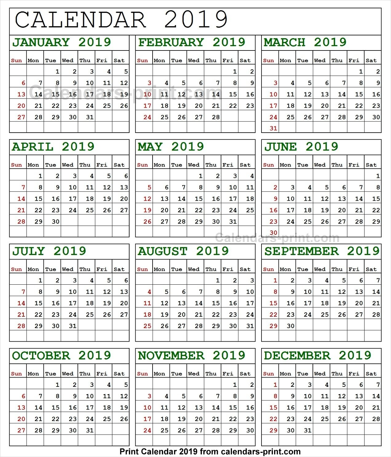 Online Calendar 2019 Printable Template With Notes | Holidays Calendar 2019 Buy Online