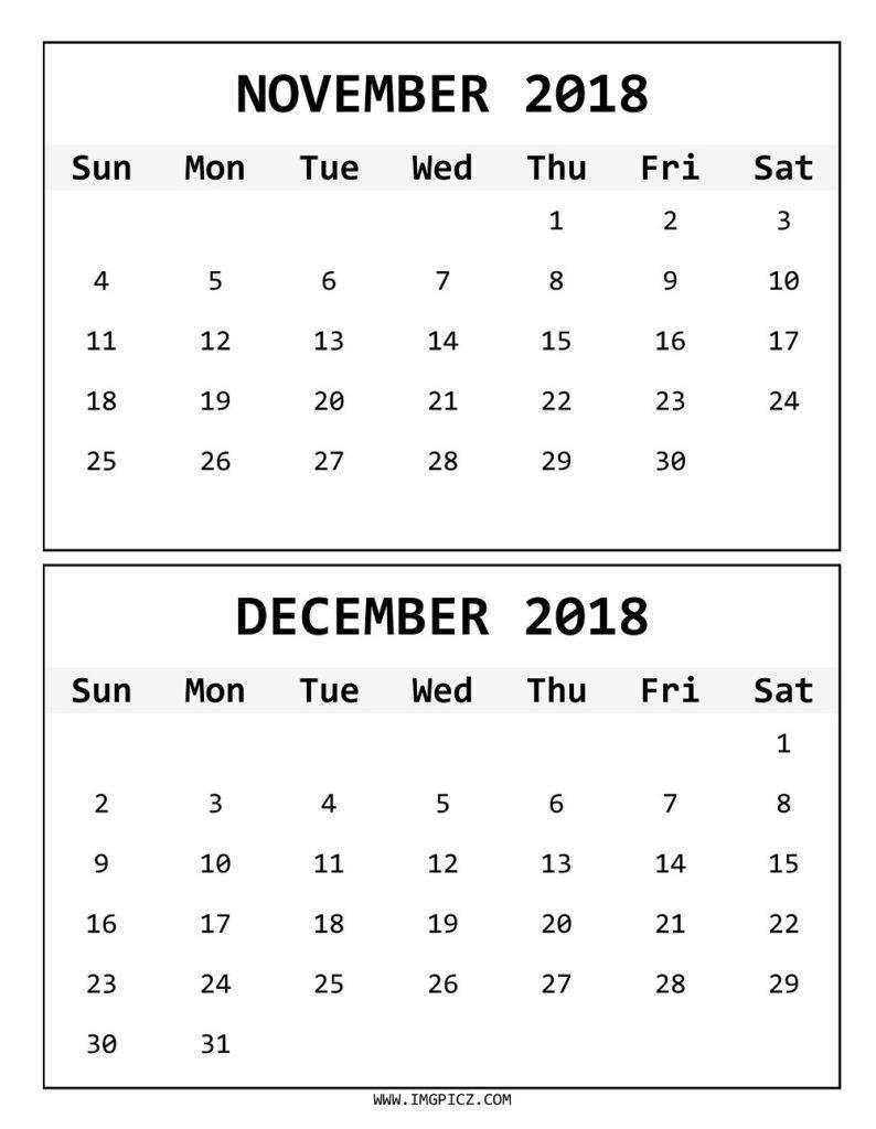 Online November December 2018 Calendar – Printable Calendar 2019 Calendar 2019 November December