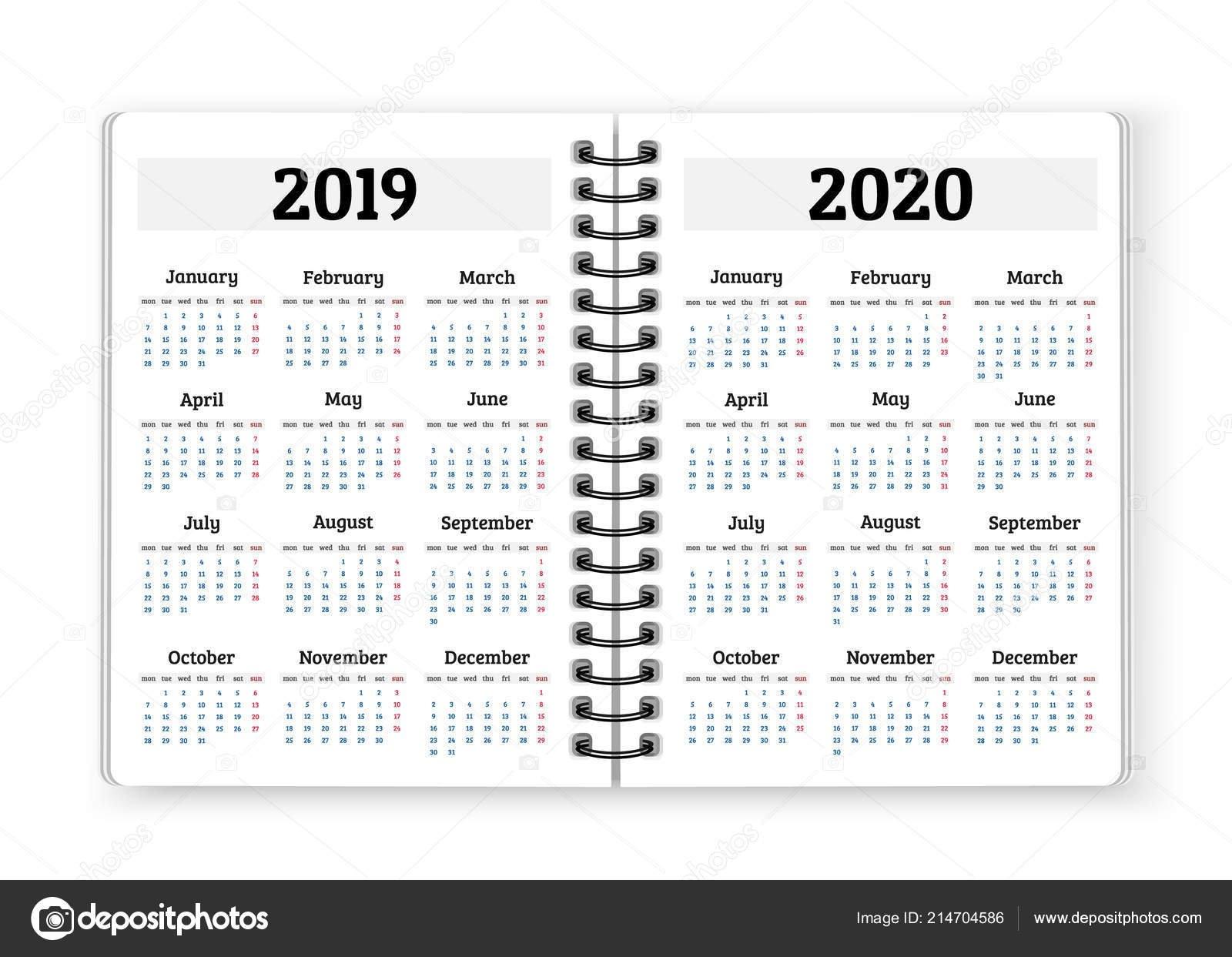 Open Notebook Paper Calendars 2019 2020 Years Vector Background Calendar 2019 Notebook