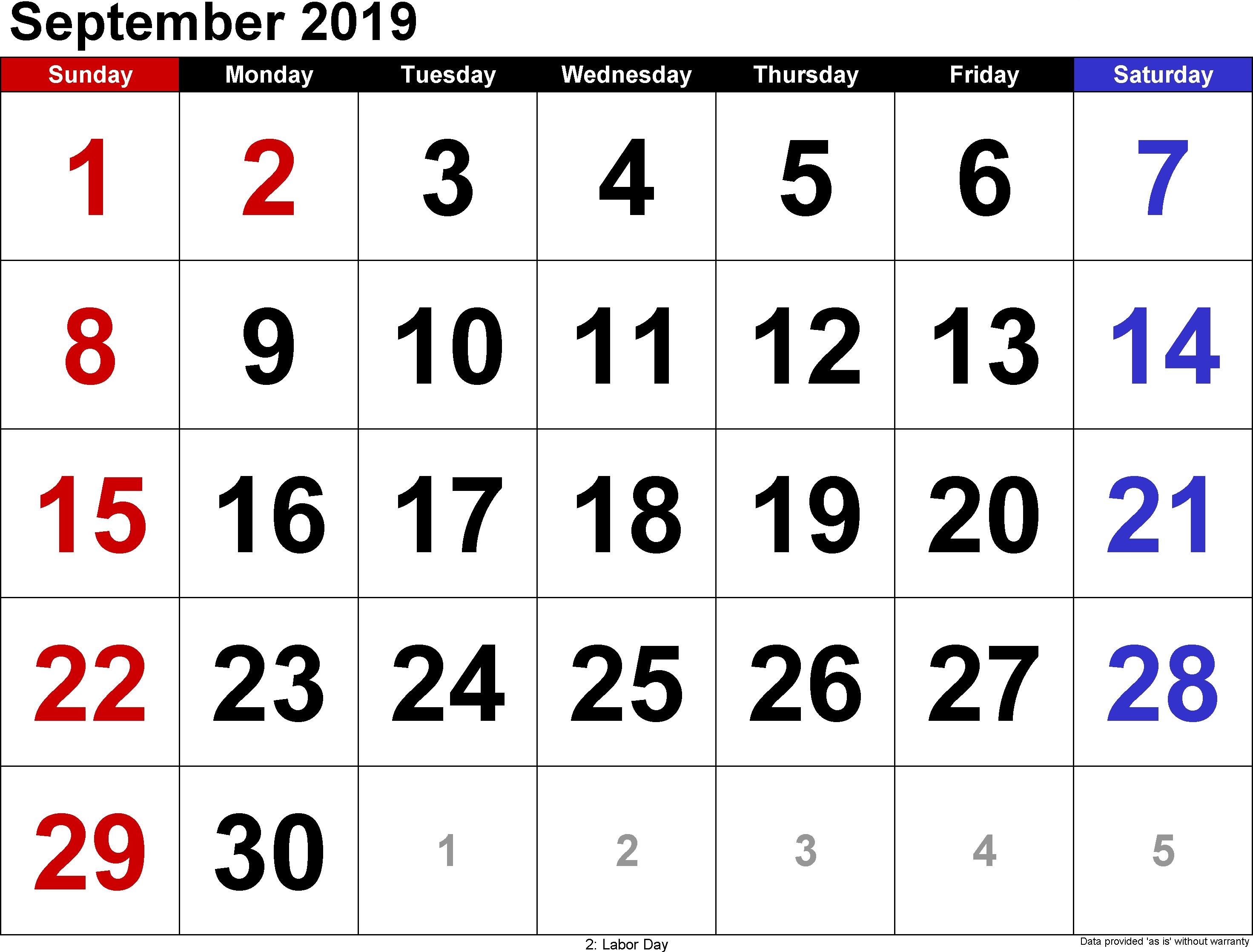 Pdf 2019 September Calendar | September 2018 Calendar Calendar Of 2019 September