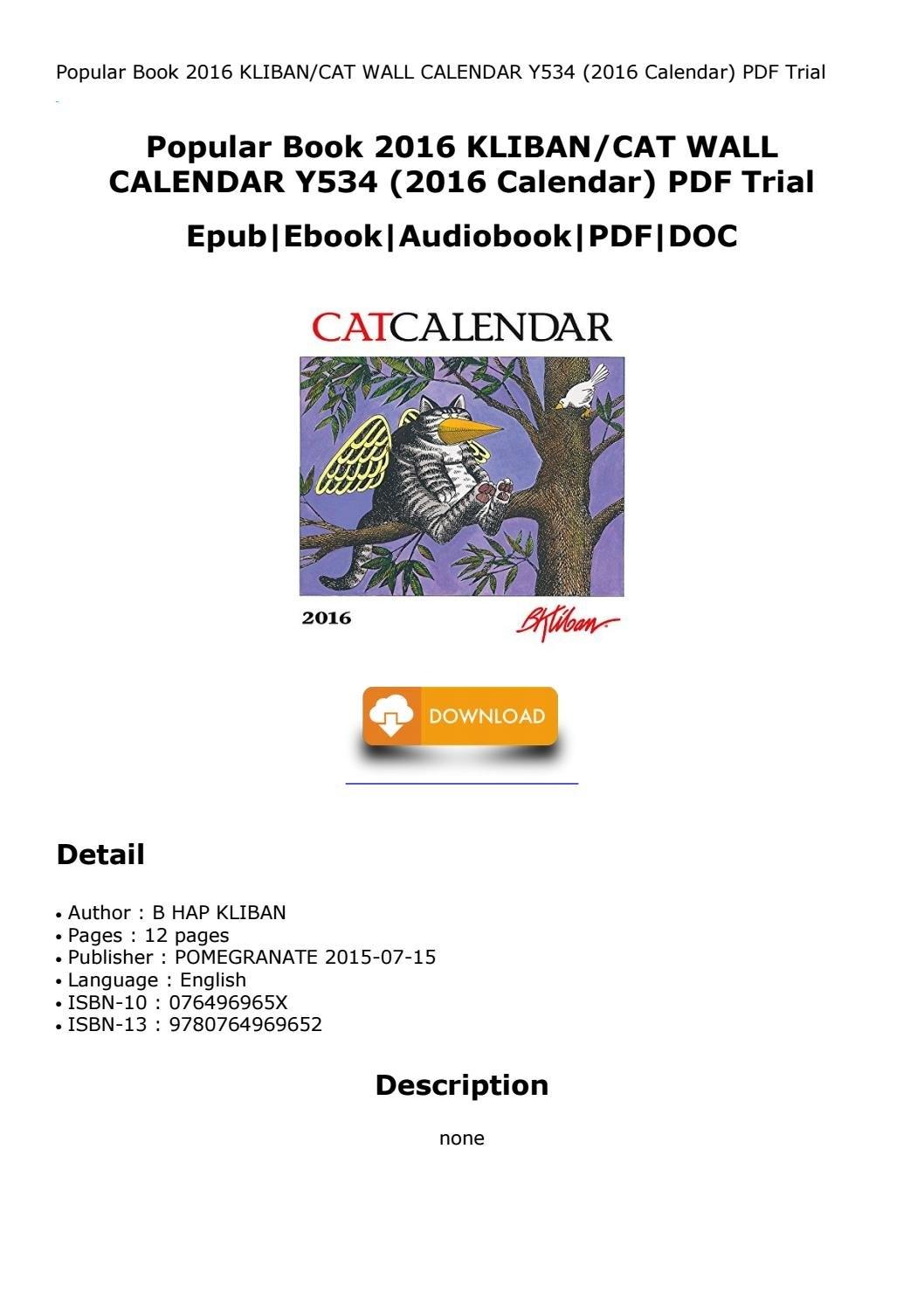 Popular Book 2016 Kliban/cat Wall Calendar Y534 (2016 Calendar) Pdf B Kliban Cat Calendar 2019