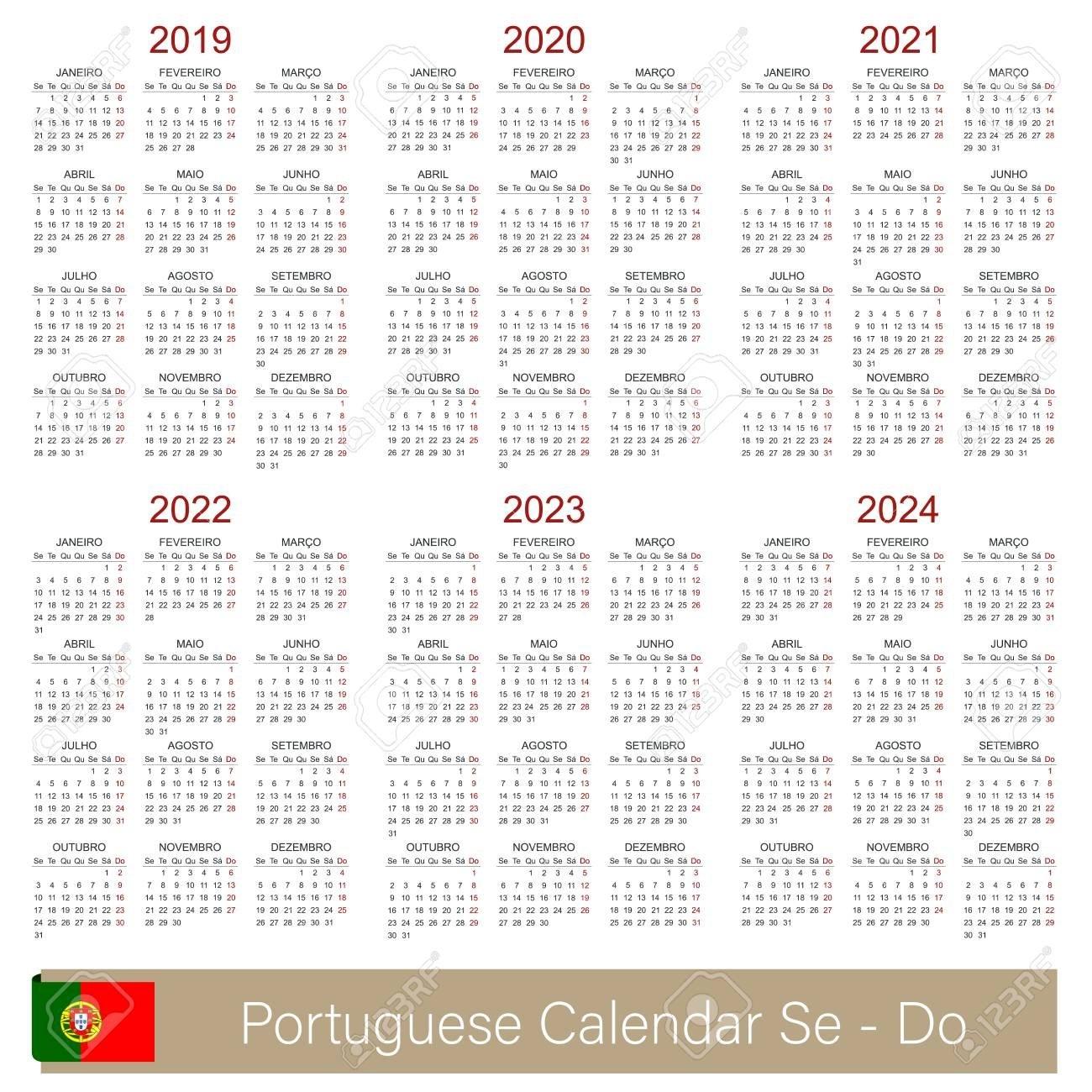 Portuguese Calendar 2019 – 2024, Week Starts On Monday, Simple Calendar 2019 Qu