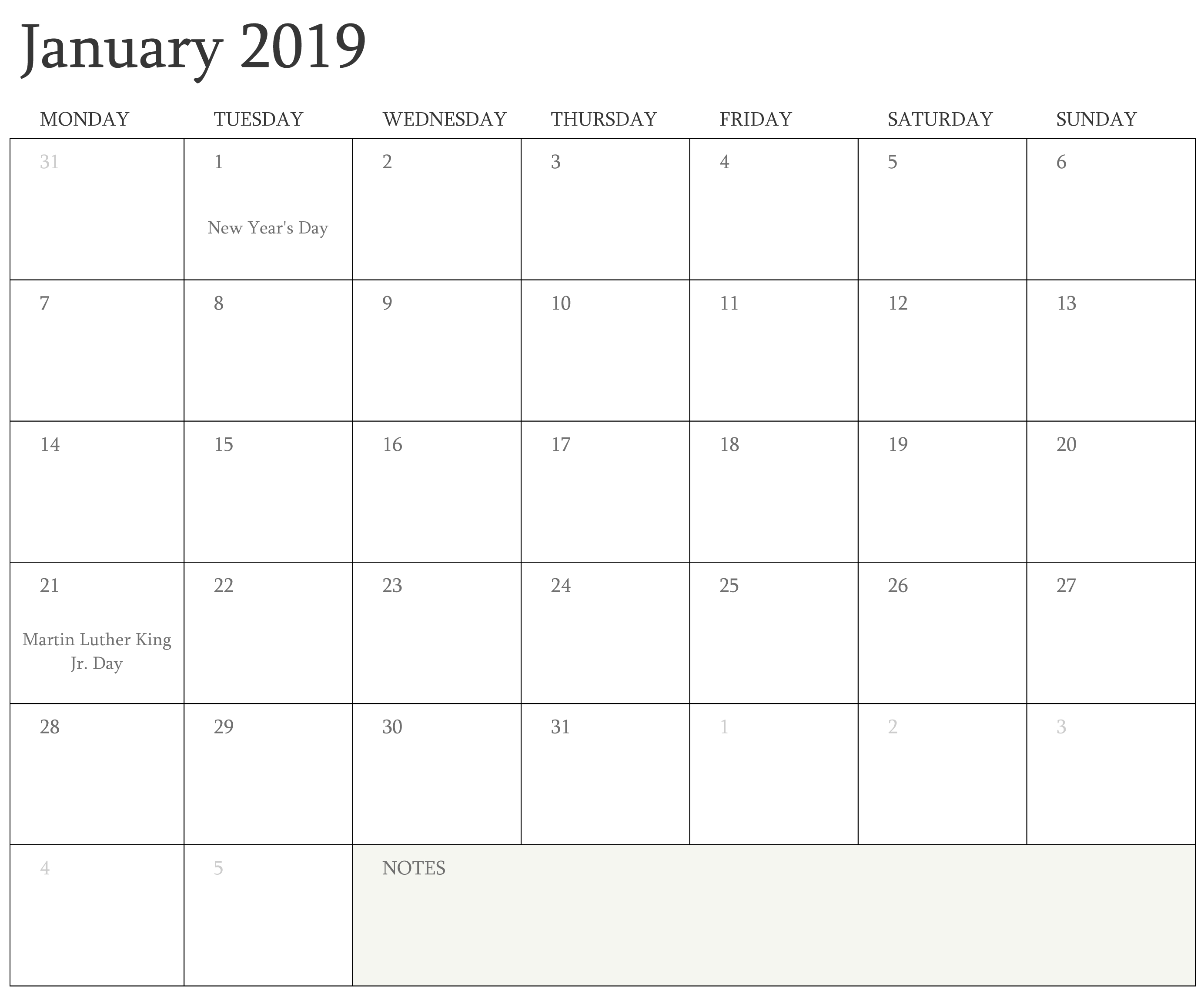 Print Calendar January 2019 Template - Free Printable 2018 Calendar Calendar 2019 Fillable