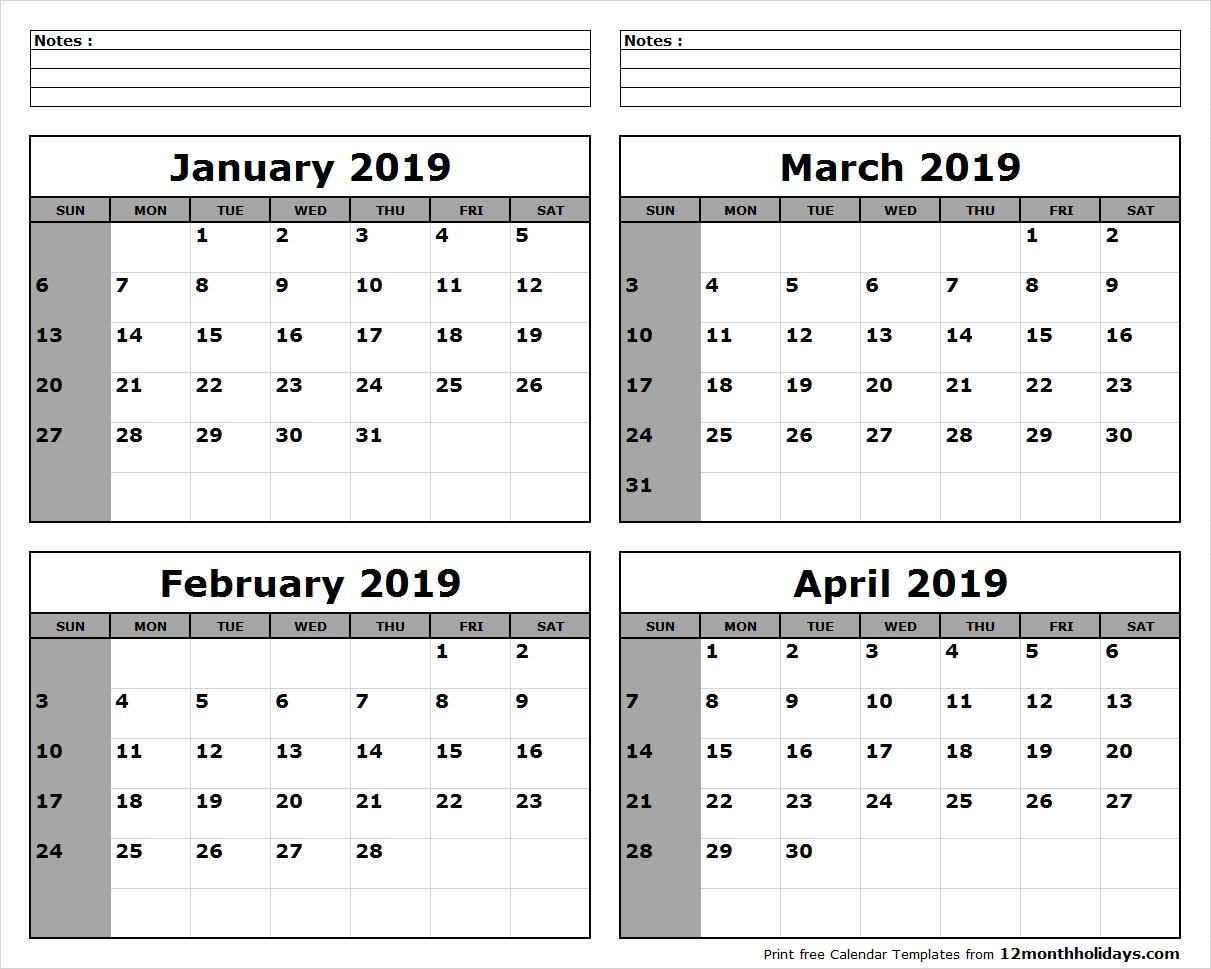 Print January To April 2019 Calendar Template | 4 Month Calendar Calendar 2019 January To April
