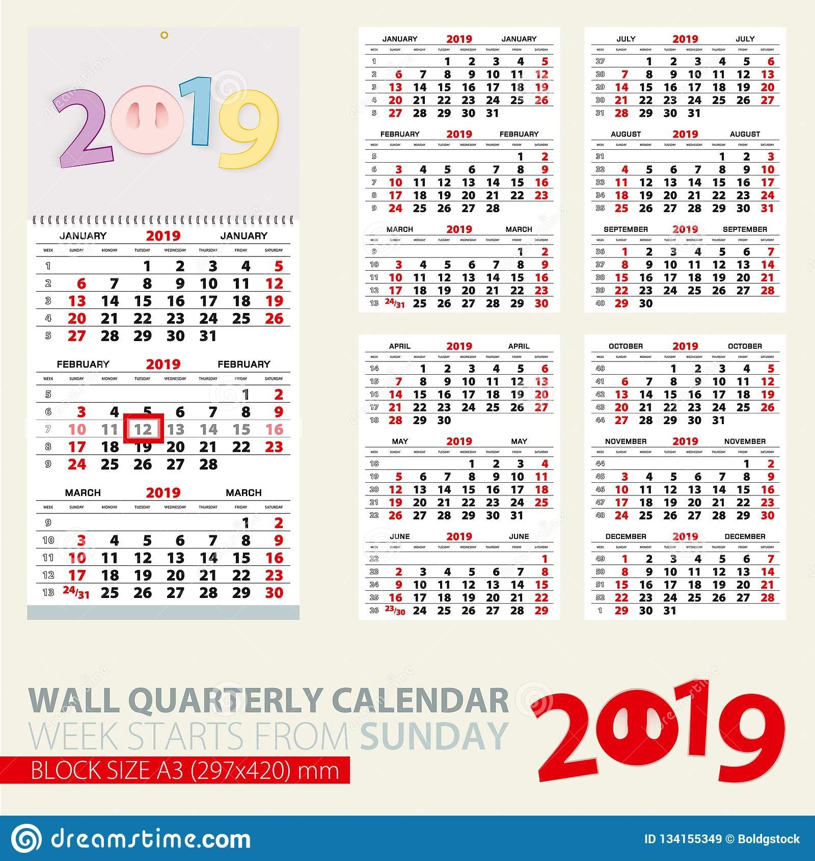 Print Template Of Wall Quarterly Calendar For 2019 Year. Year Of The Calendar Week 41 2019