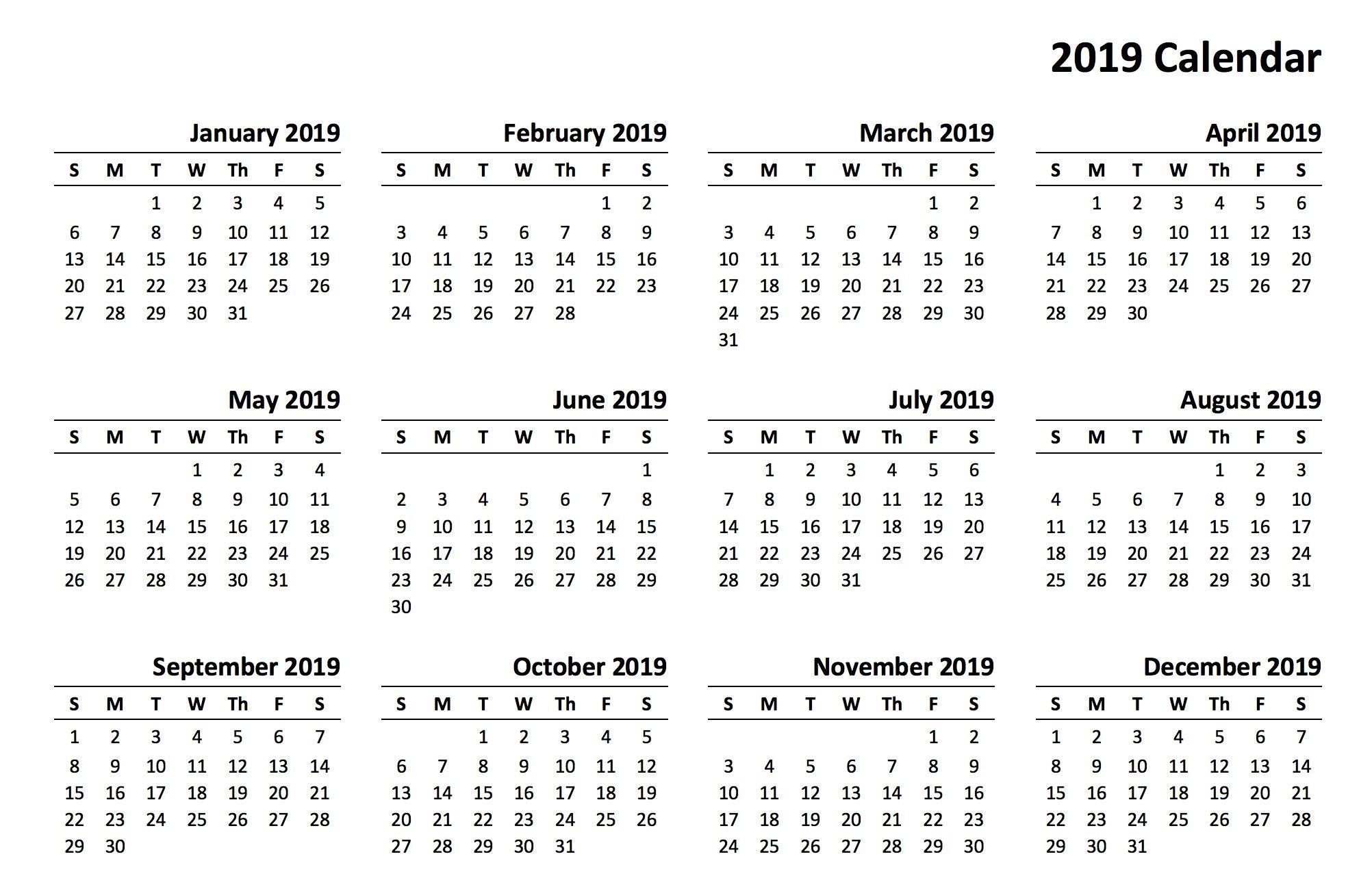 Printable 2019 Calendar   Aaron The Artist 2019 Calendars