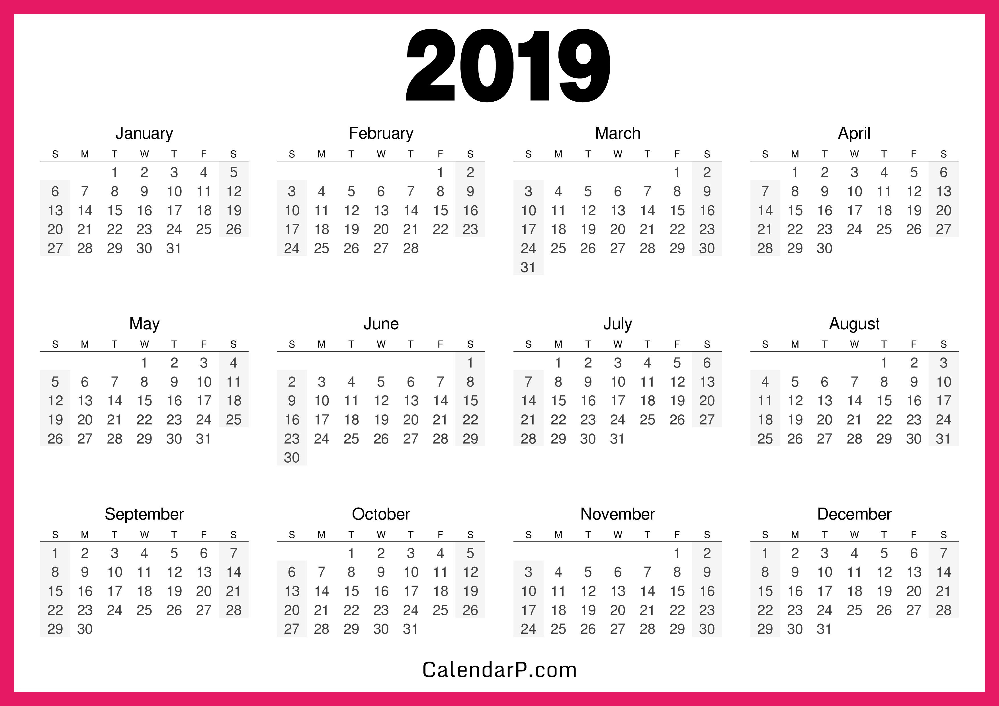 Printable 2019 Calendar Free Hd, Pink – Calendarp | Printable 2019 Calendar 8 1/2 X 11