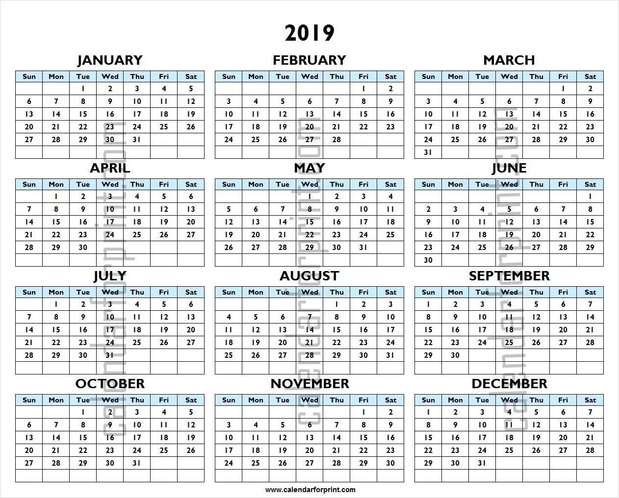 Printable 2019 Calendar   One Year 2019 Excel Template 1 Year Calendar 2019