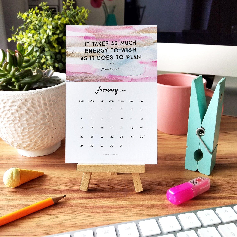 Printable 2019 Motivational Desk Calendar To Inspire You Every Month Calendar 2019 Desktop