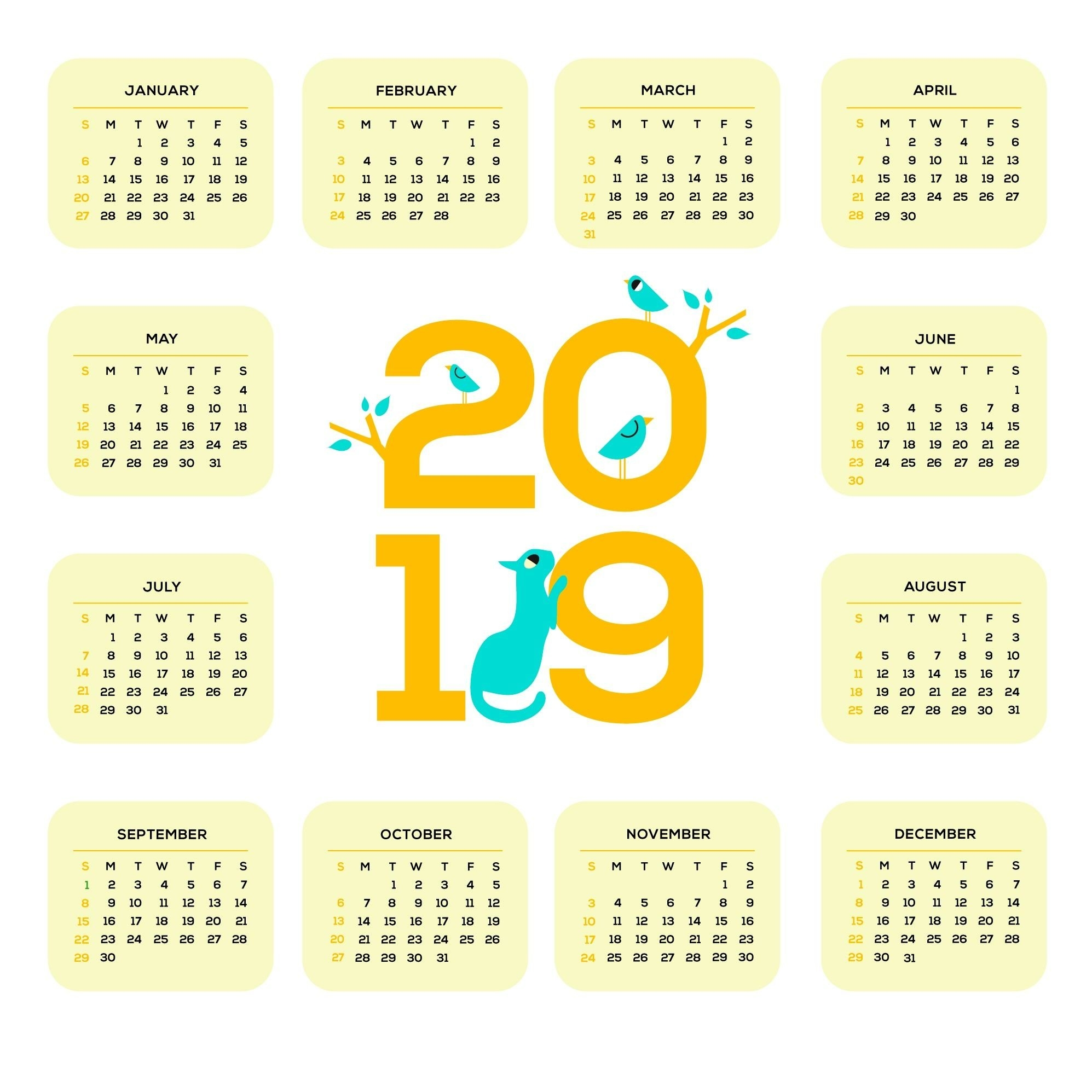 Printable 2019 One Page Calendar | Monthly Calendar Templates Calendar 2019 One Page