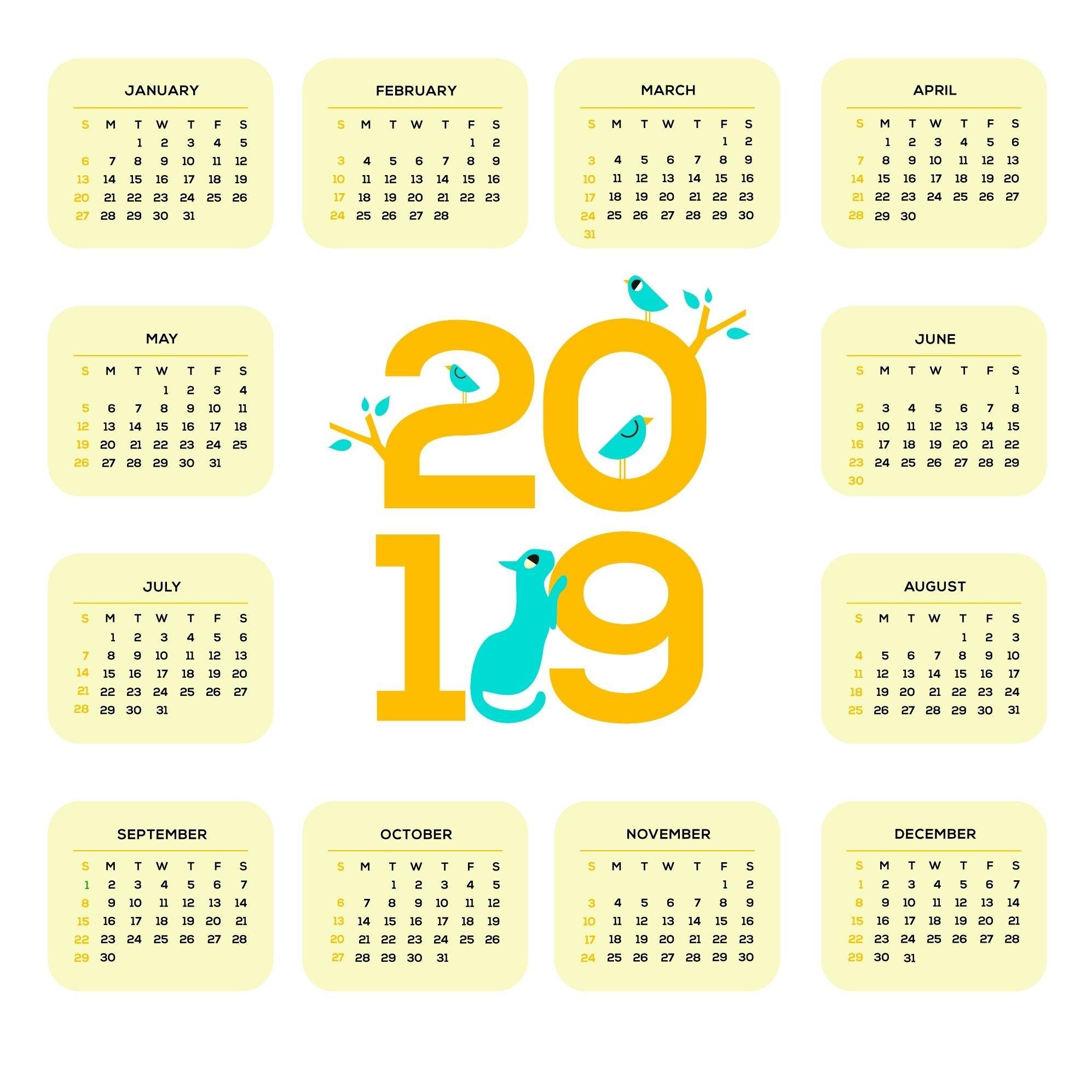 Printable 2019 One Page Calendar | Monthly Calendar Templates Calendar 2019 Single Page