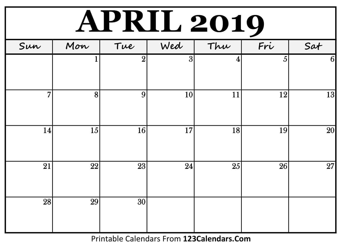 Printable April 2019 Calendar Templates – 123Calendars April 3 2019 Calendar