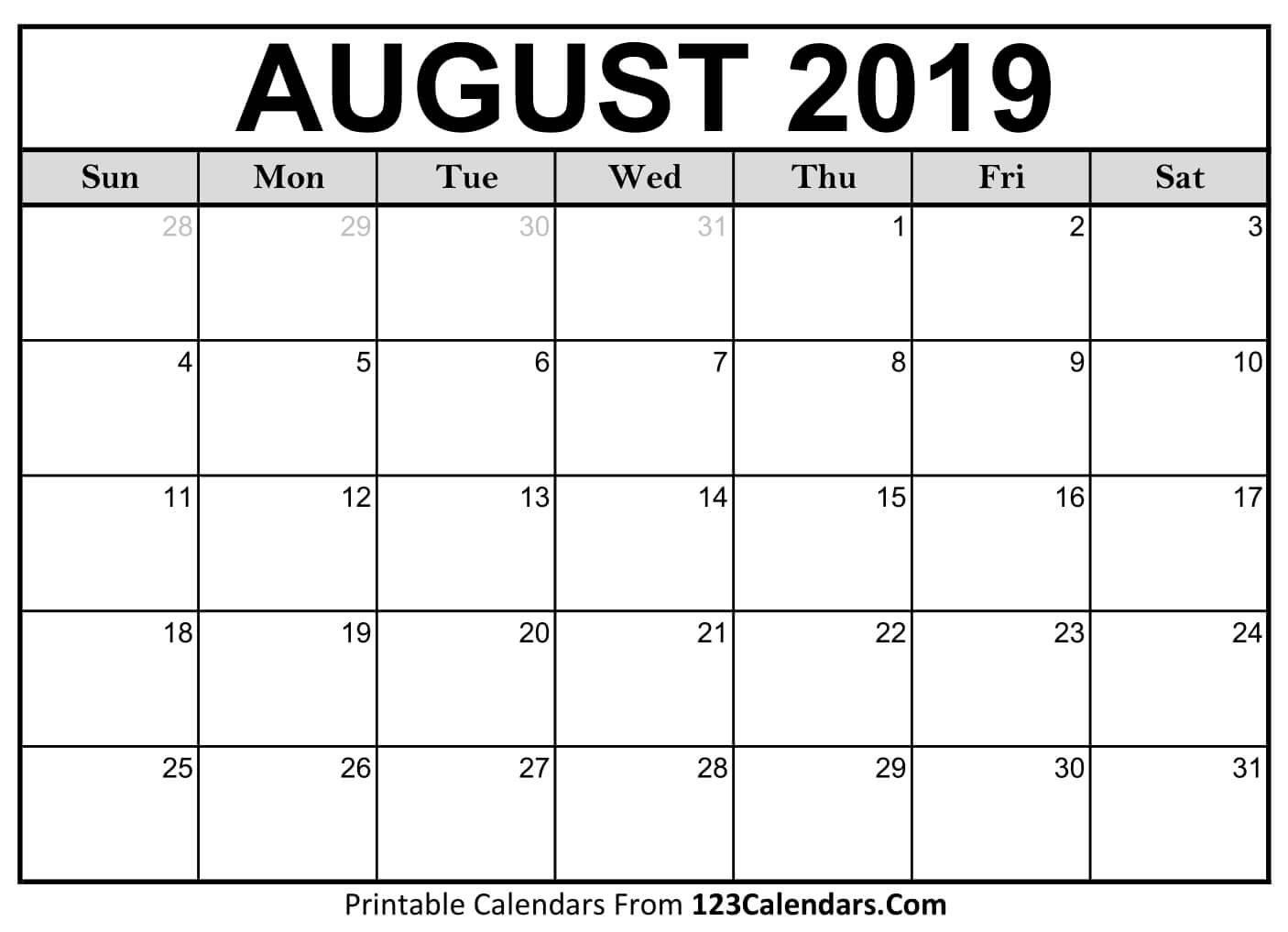 Printable August 2019 Calendar Templates – 123Calendars Calendar Of 2019 August