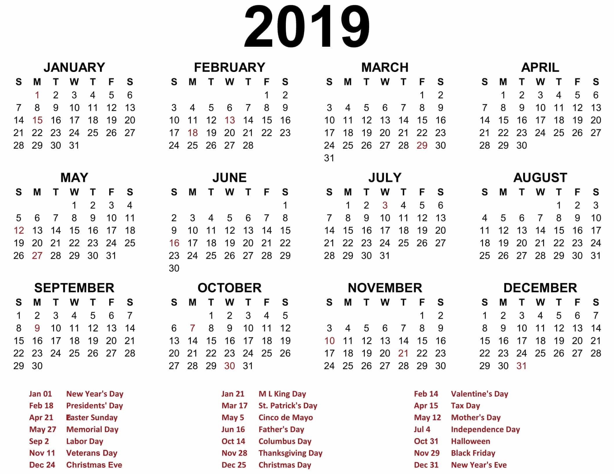 Printable Blank 2019 Calendar Templates – Calenndar 2019 Calendars