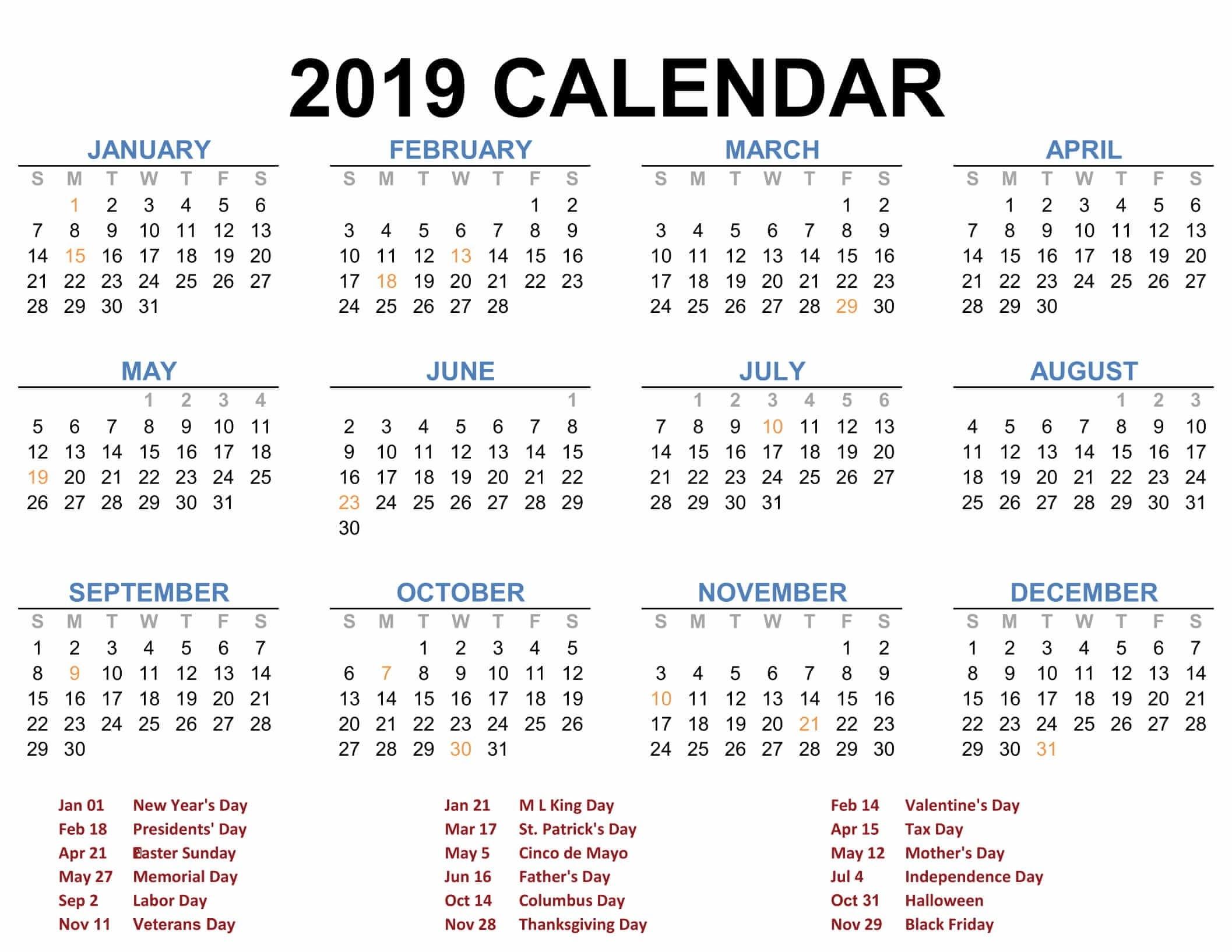 Printable Blank 2019 Calendar Templates – Calenndar Calendar 4 2019
