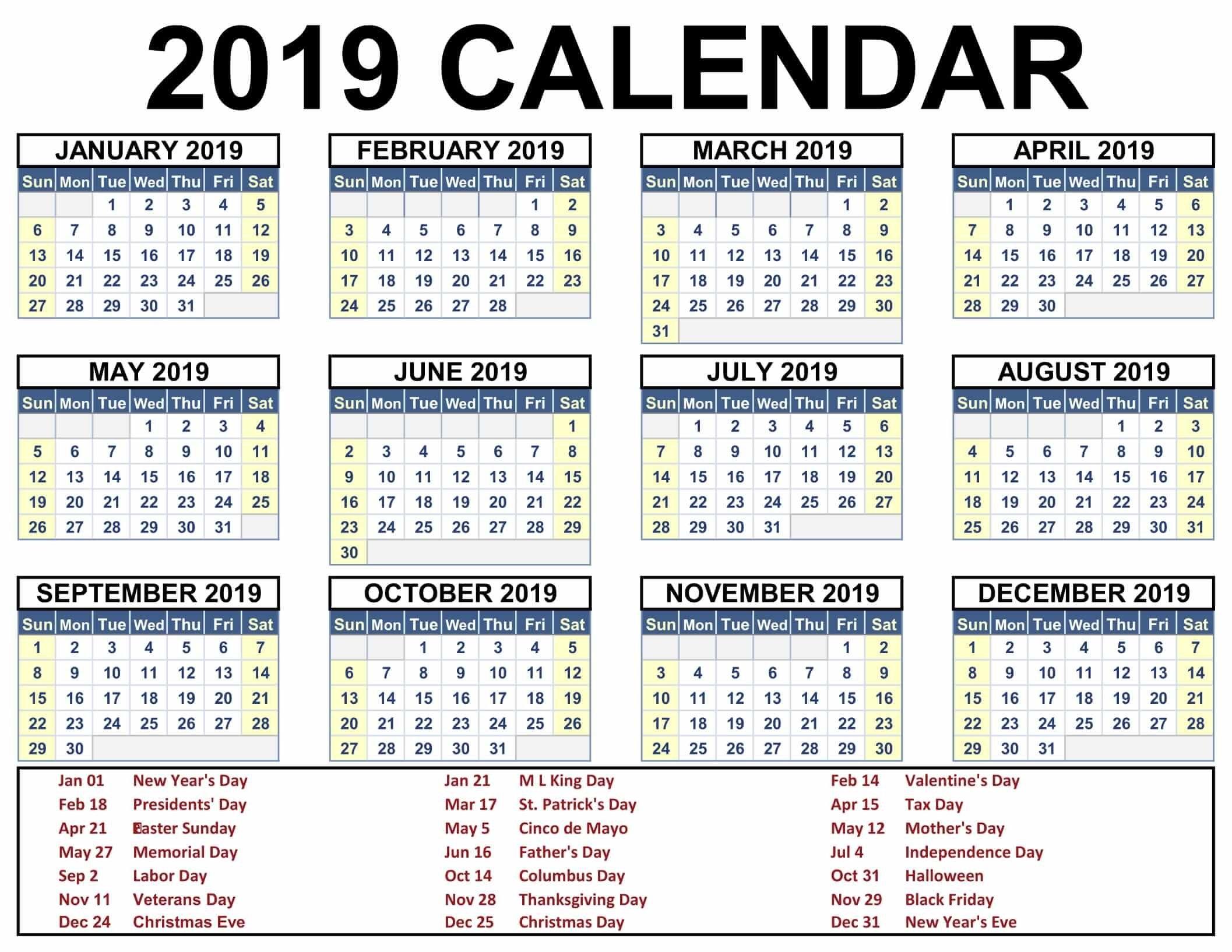 Printable Blank 2019 Calendar Templates – Calenndar Calendar Of 2019