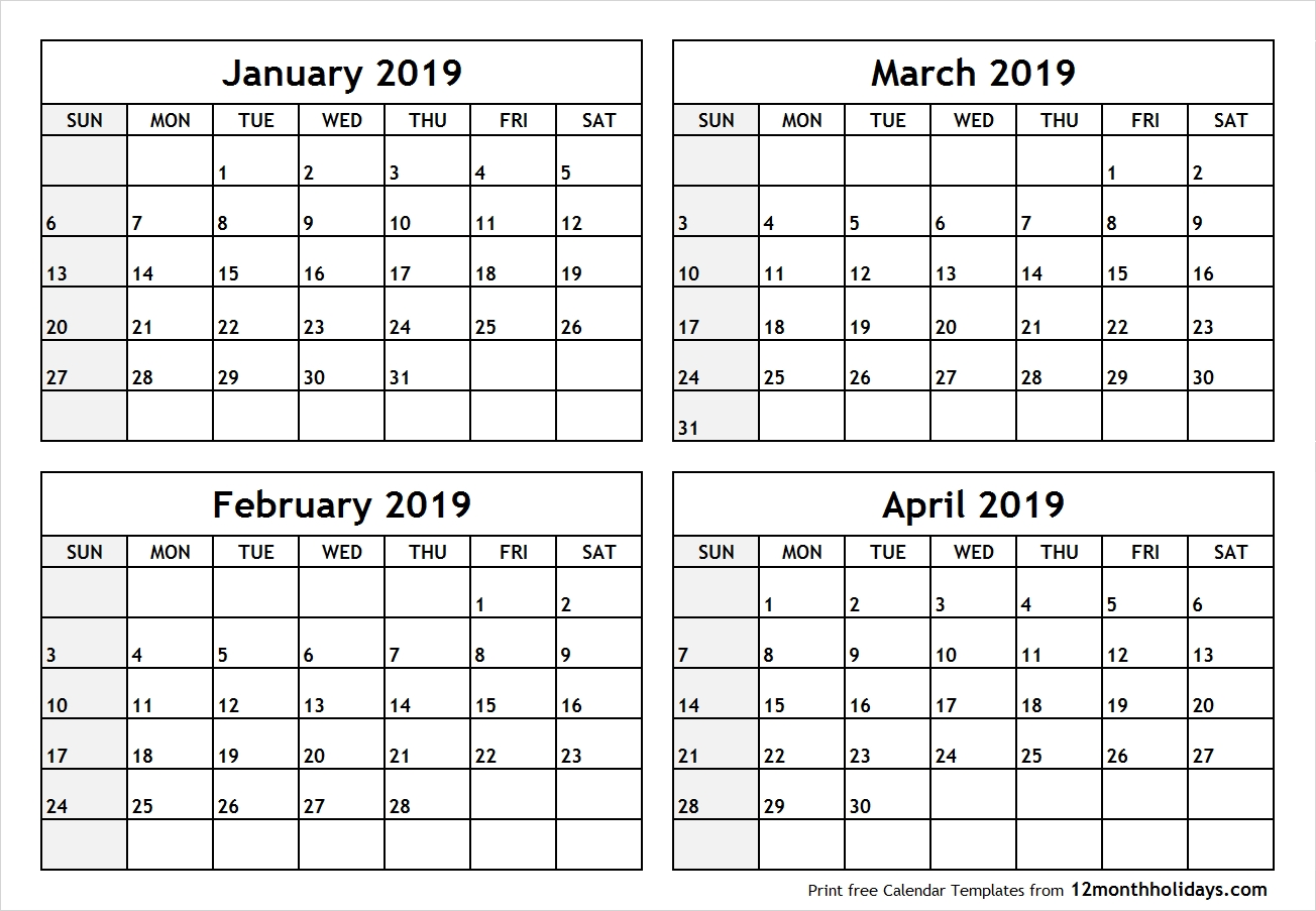 Printable Blank Four Month January February March April 2019 Calendar 4 Month Calendar 2019
