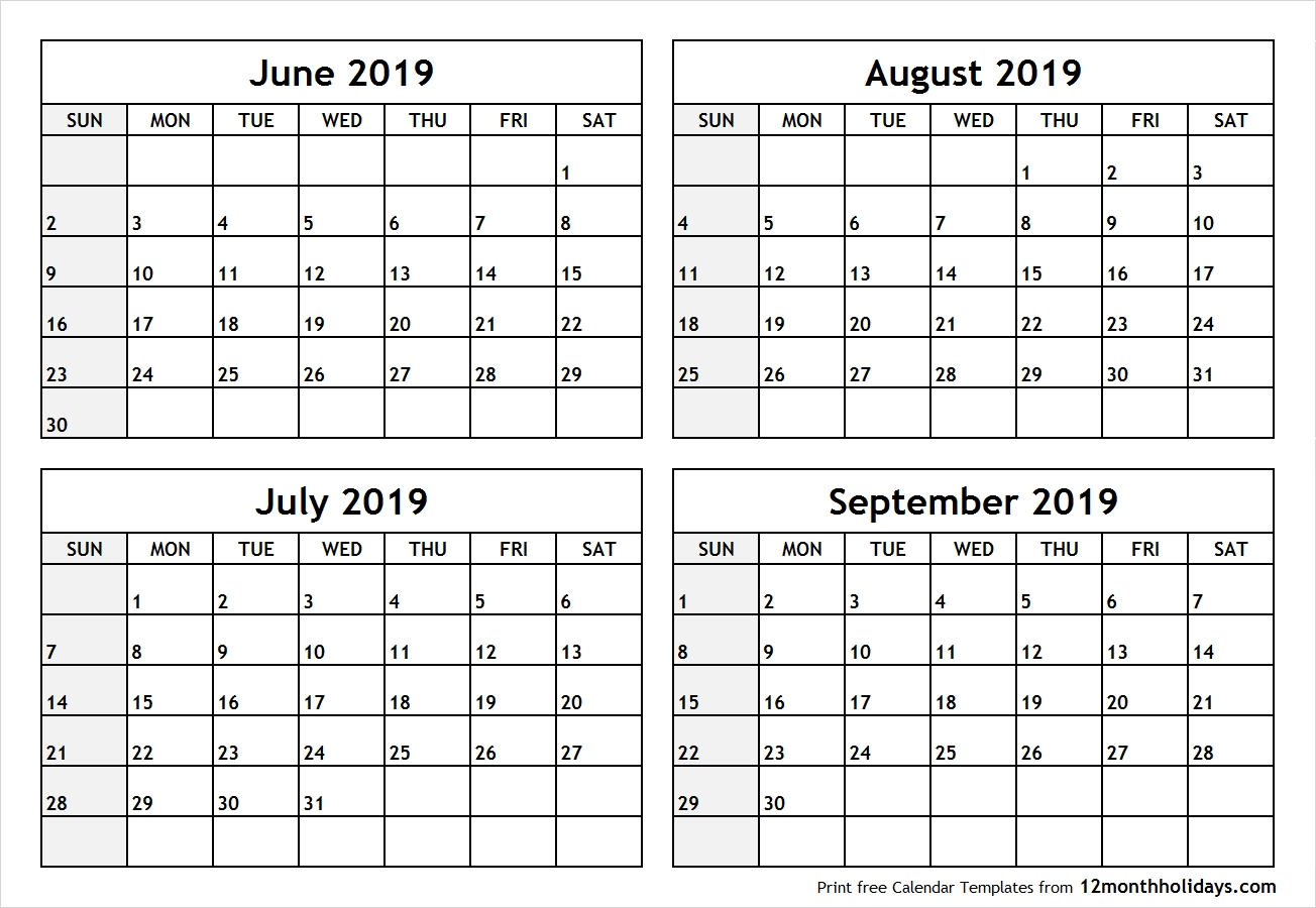 Printable Blank Four Month June July August September 2019 Calendar Calendar 2019 June July August