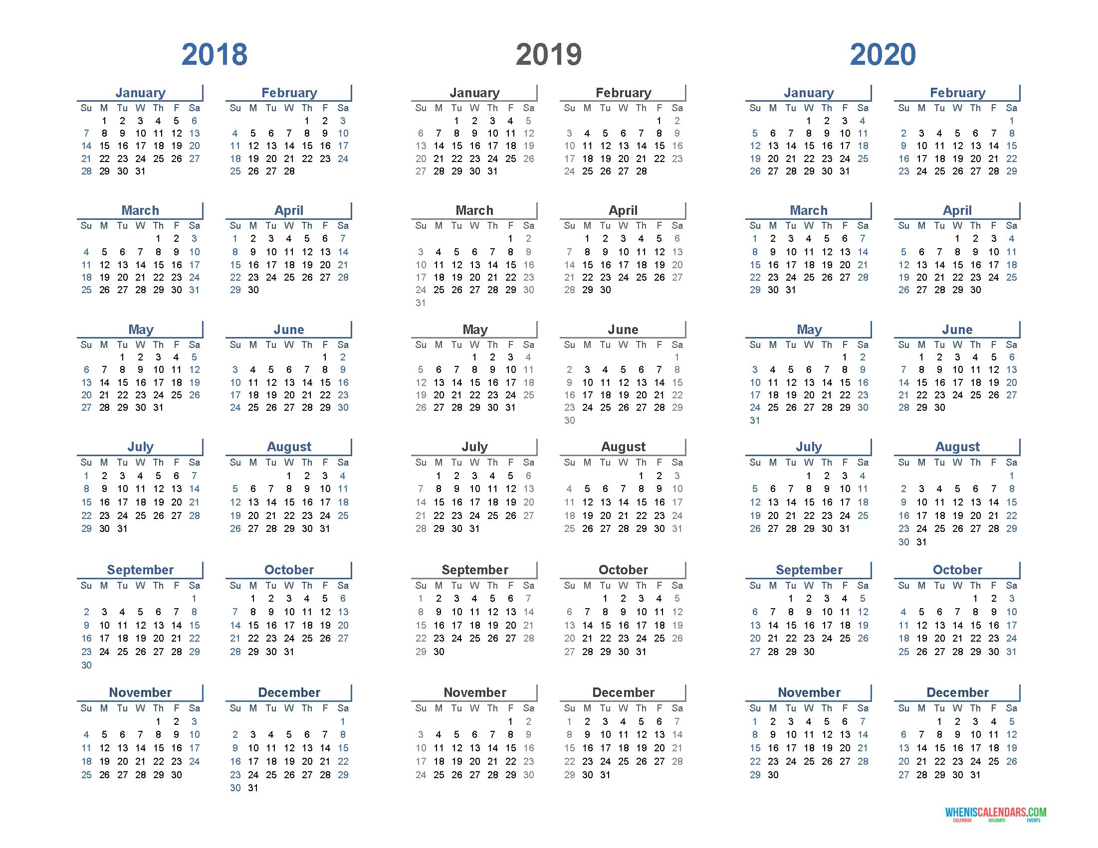 Printable Calendar 2018 2019 And 2020 3 Year Calendar (Light Design 3 Year Calendar 2019 To 2021 Printable