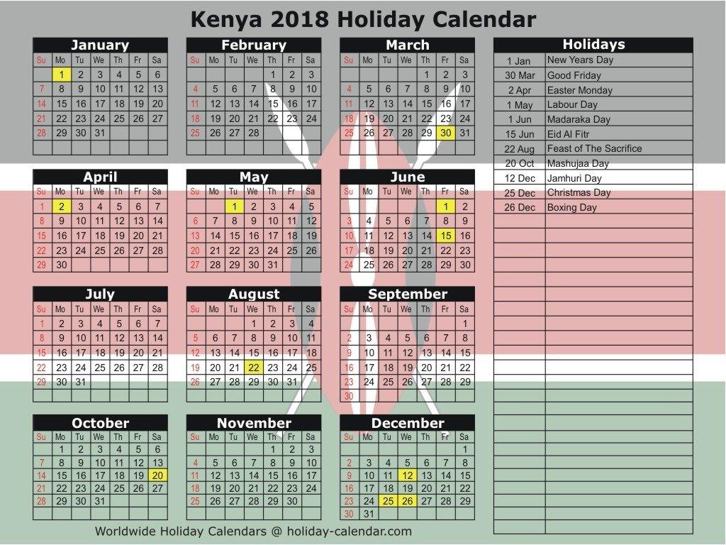 Printable Calendar 2018 Kenya   Printable Calendar 2019 Calendar 2019 Kenya