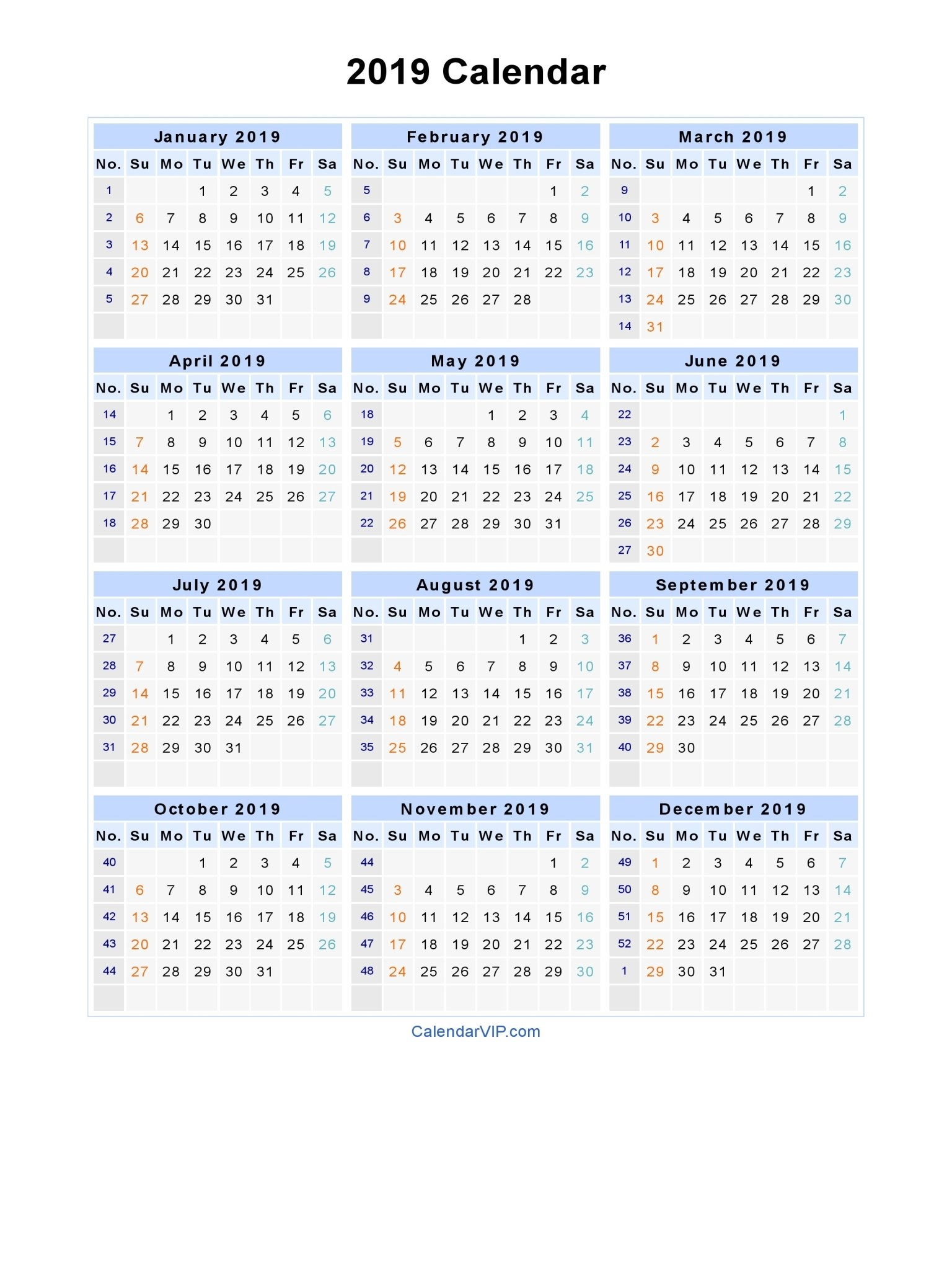 Printable Calendar 2019 Calendar Labs   Printable Calendar 2019 Calendar 2019 Calendarlabs