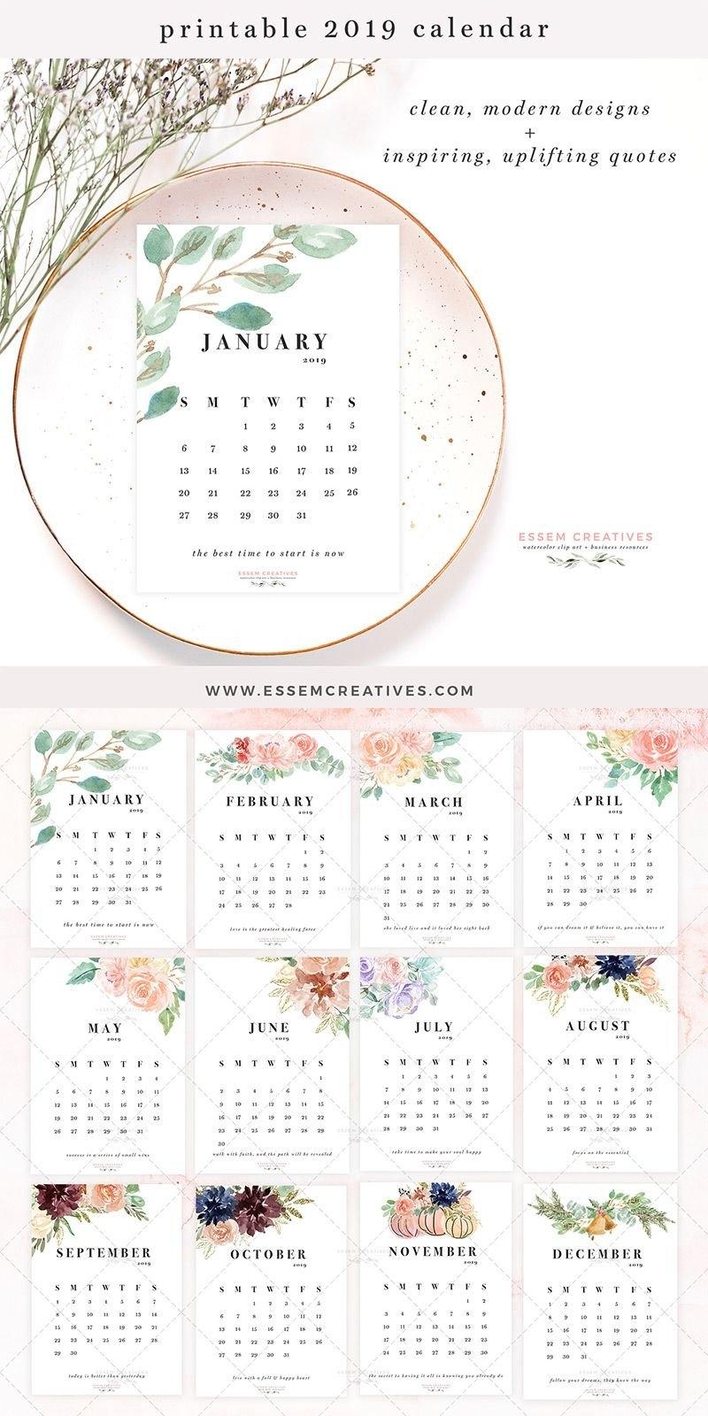 Printable Calendar 2019, Floral Watercolor Calendar, 5X7 Inch Desk Calendar 2019 5X7