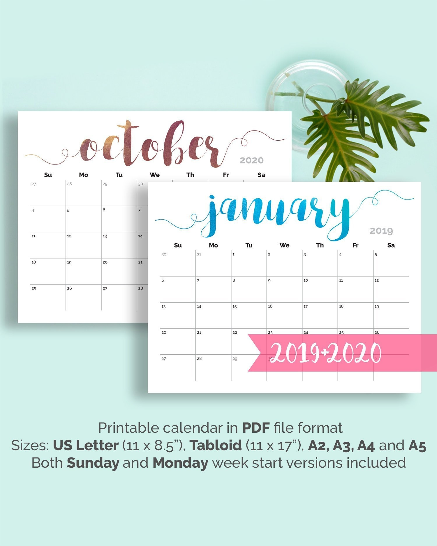 Printable Calendar 2019 Large Wall Calendar 2019 2020 Desk | Etsy School Calendar 2019 Zimbabwe