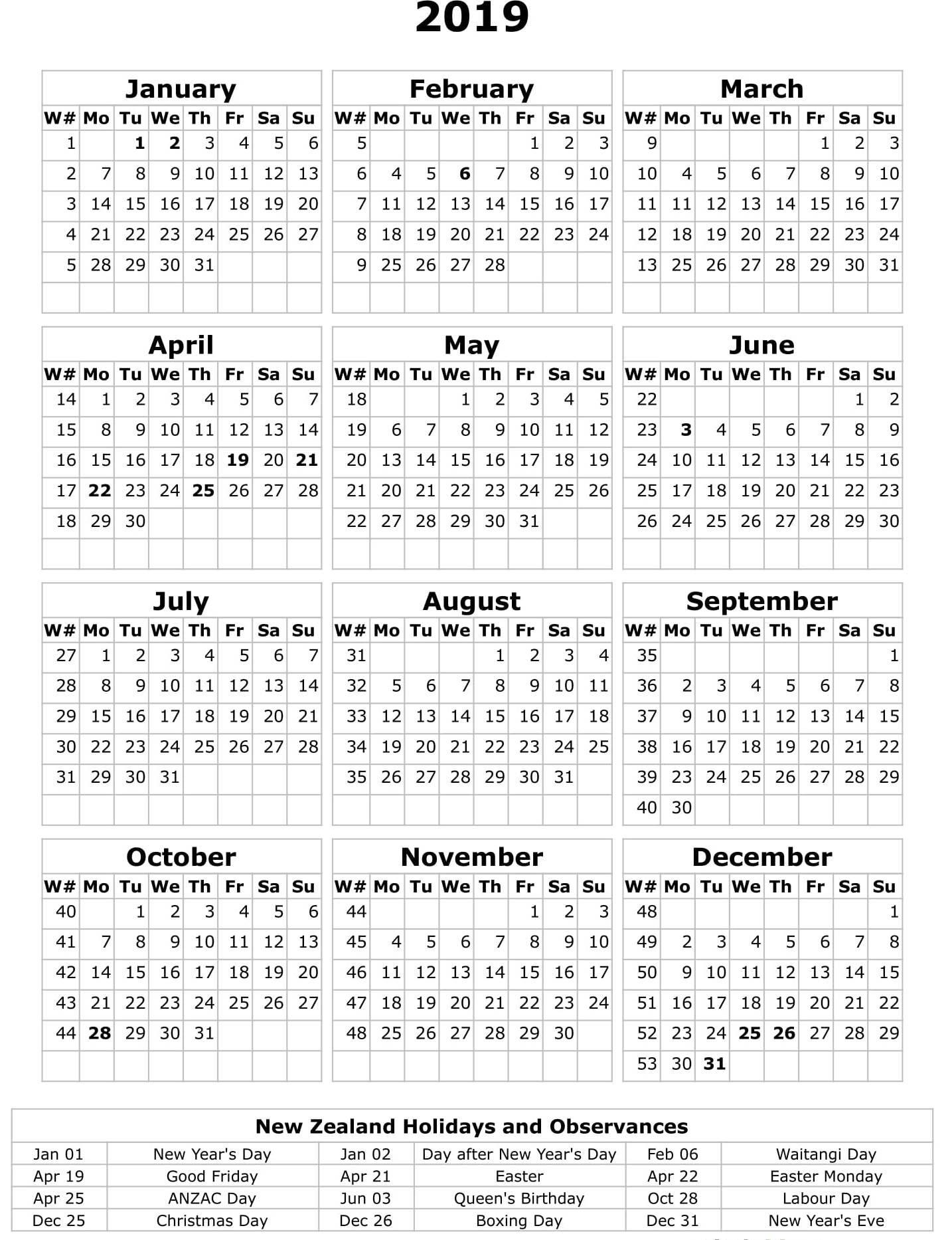 Printable Calendar 2019 Nz – Paper Worksheets Calendar Templates Calendar 2019 Zealand