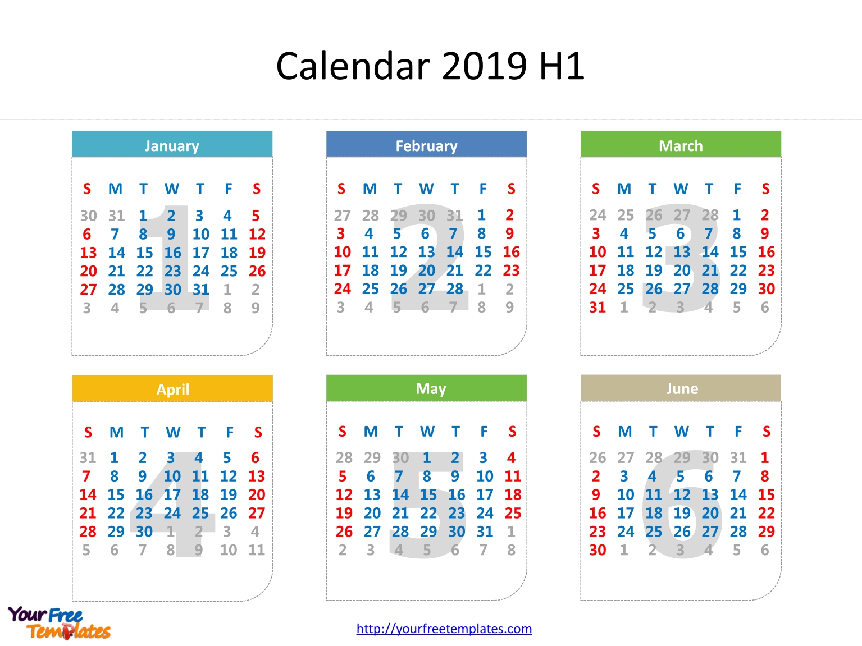 Printable Calendar 2019 Template – Free Powerpoint Templates Calendar 2019 Half Year