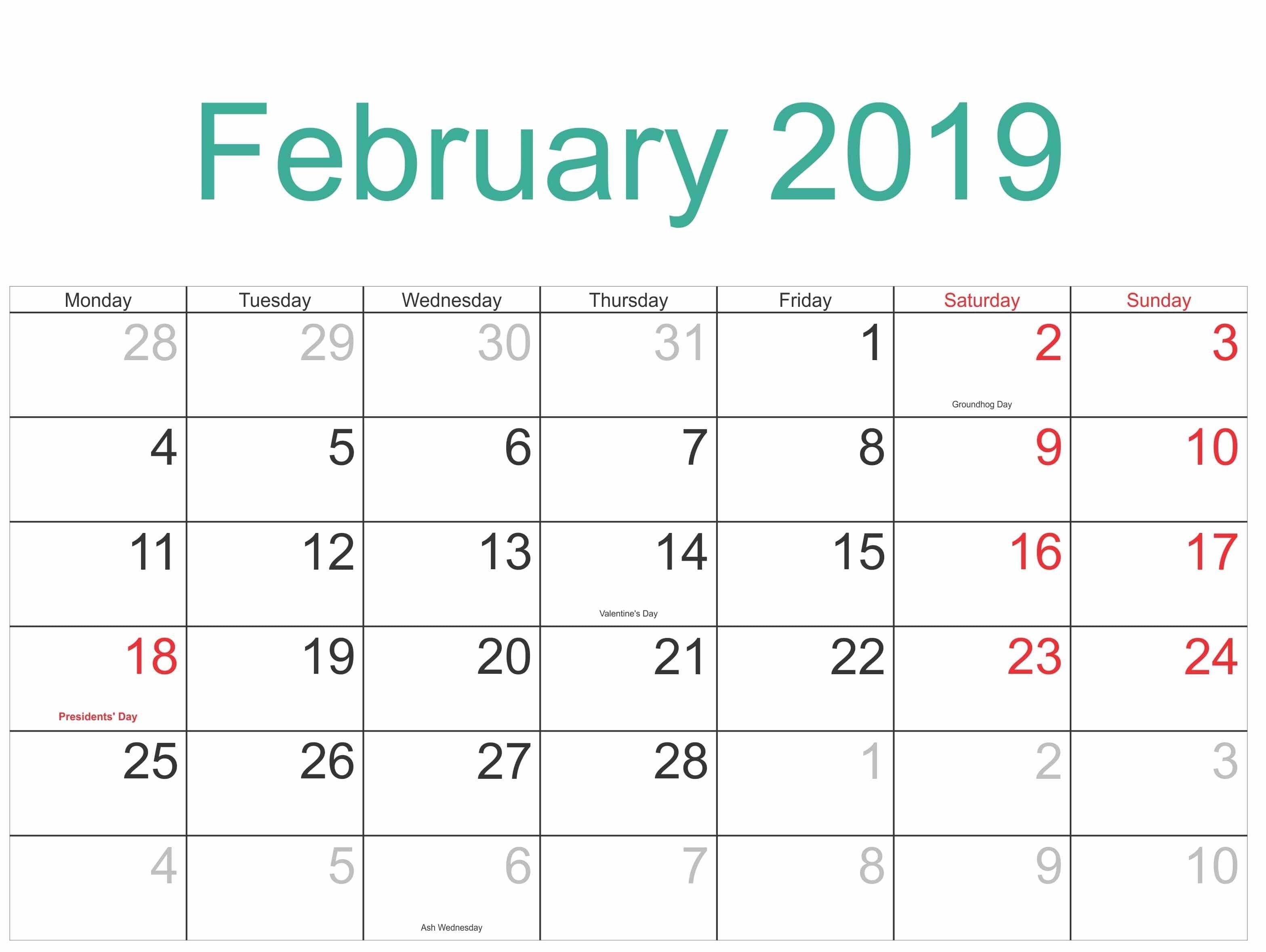 Printable Calendar February 2019 With Holidays – Free Calendar Calendar Feb 8 2019