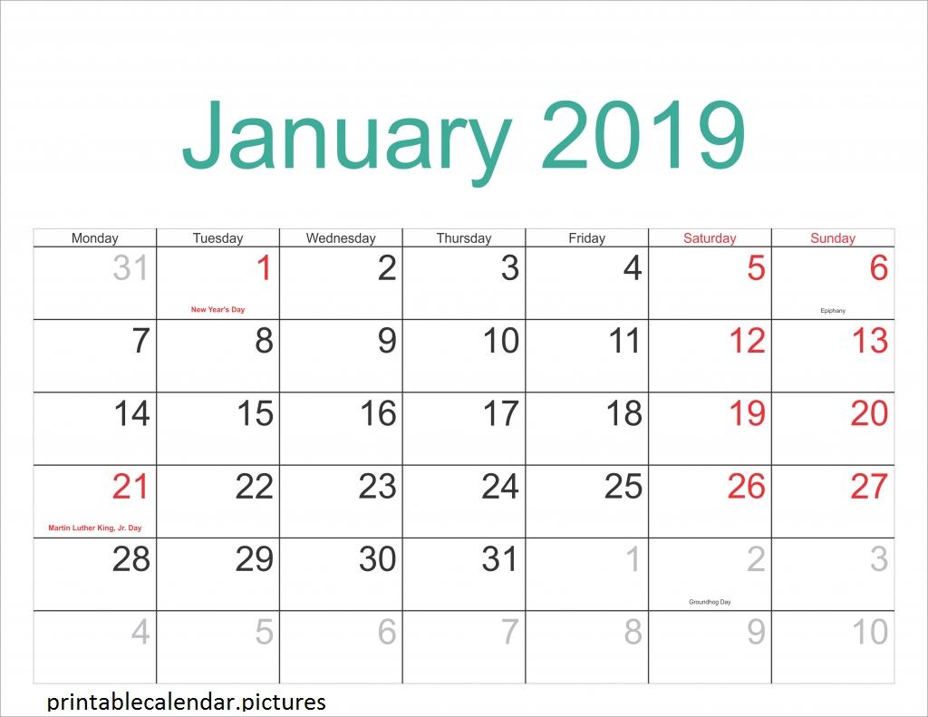 Printable Calendar January 2019 With Holidays | Printable Calendar Calendar 2019 Showing Holidays