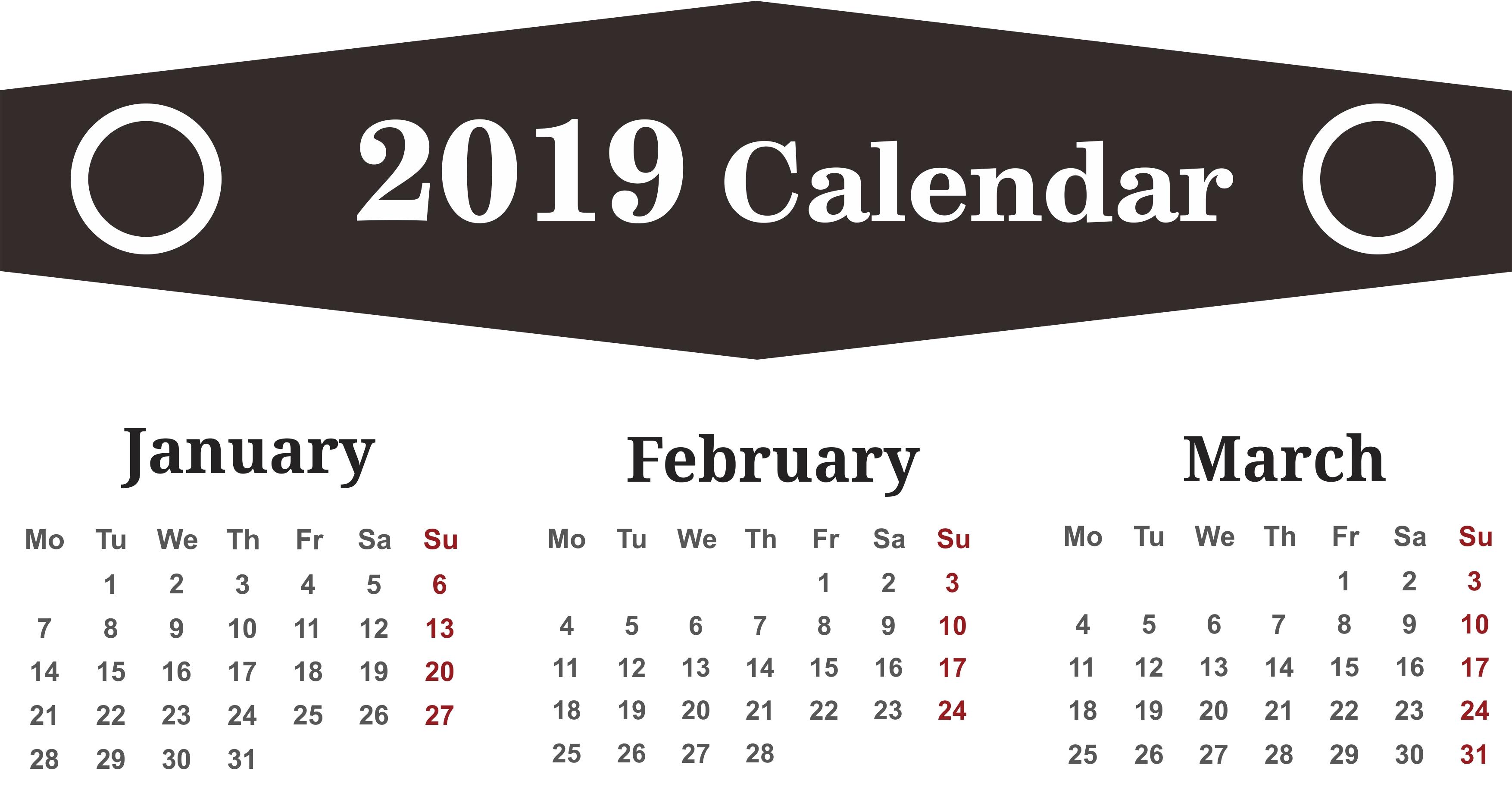 Printable Calendar January February March 2019 Calendar | 250+ March Feb 9 2019 Calendar