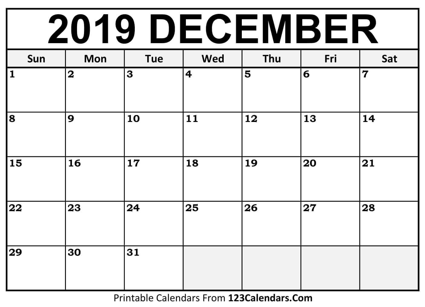 Printable December 2019 Calendar Templates – 123Calendars Calendar 2019 December