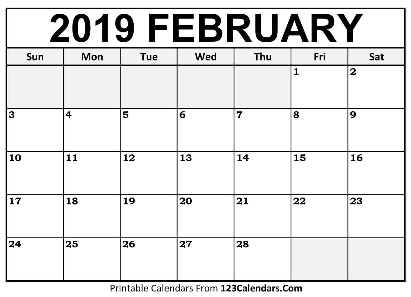 Printable February 2019 Calendar Templates – 123Calendars A Calendar For February 2019