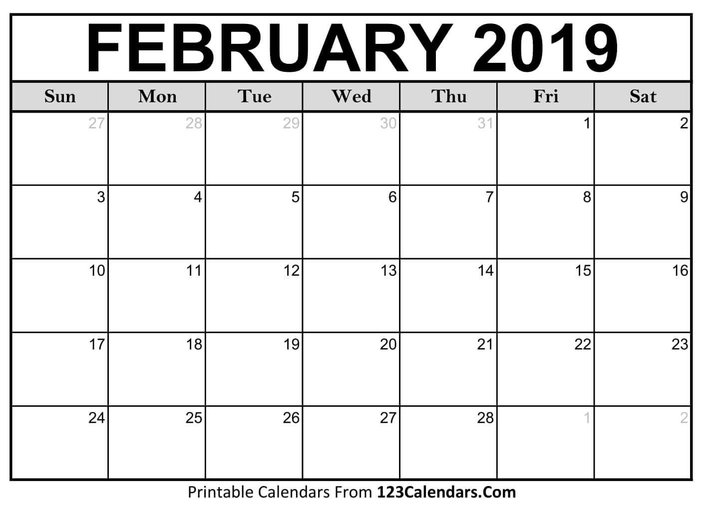 Printable February 2019 Calendar Templates – 123Calendars February 1 2019 Calendar